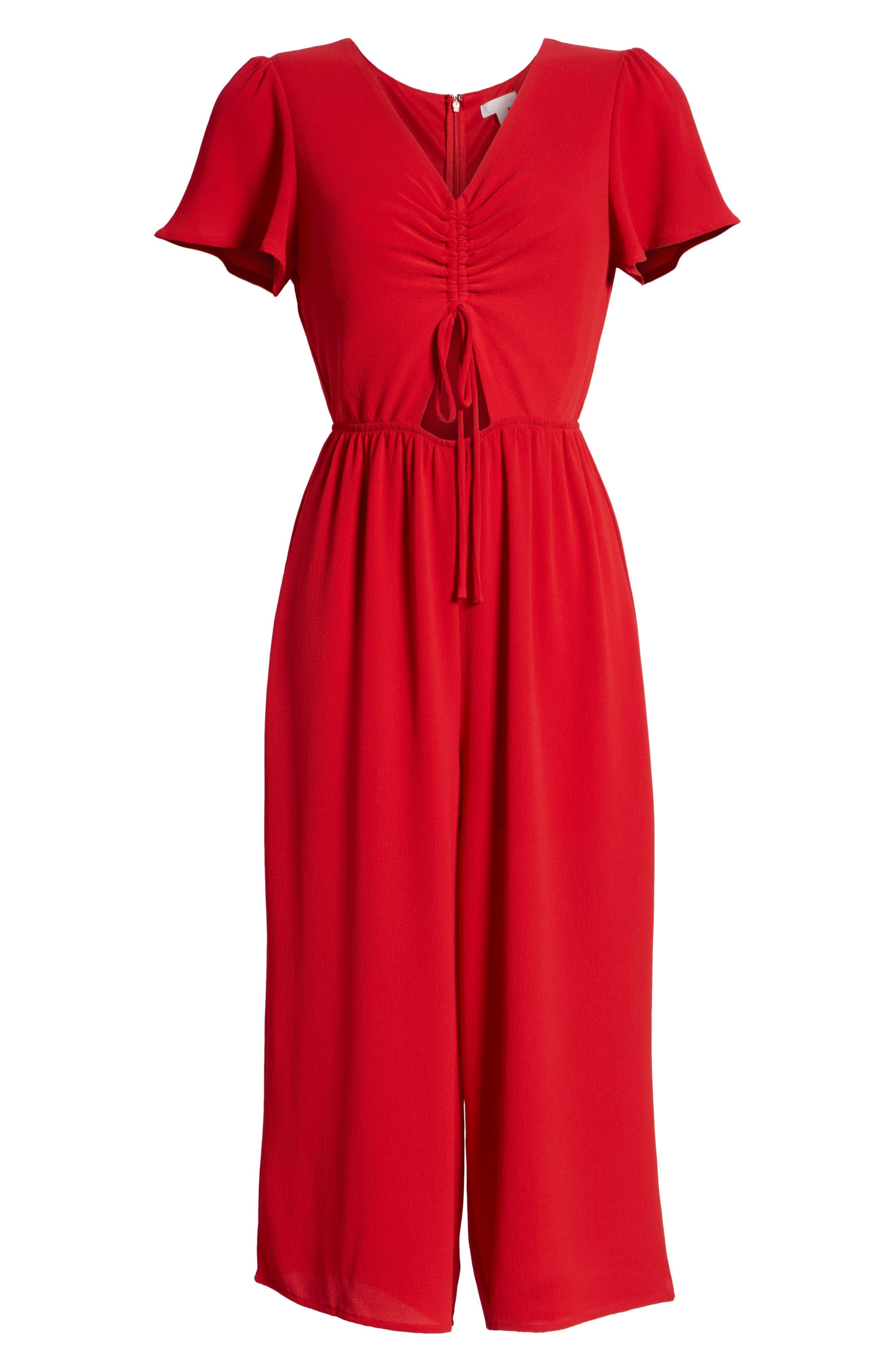 Cinch Front Crop Jumpsuit,                             Alternate thumbnail 7, color,                             RED LIPSTICK