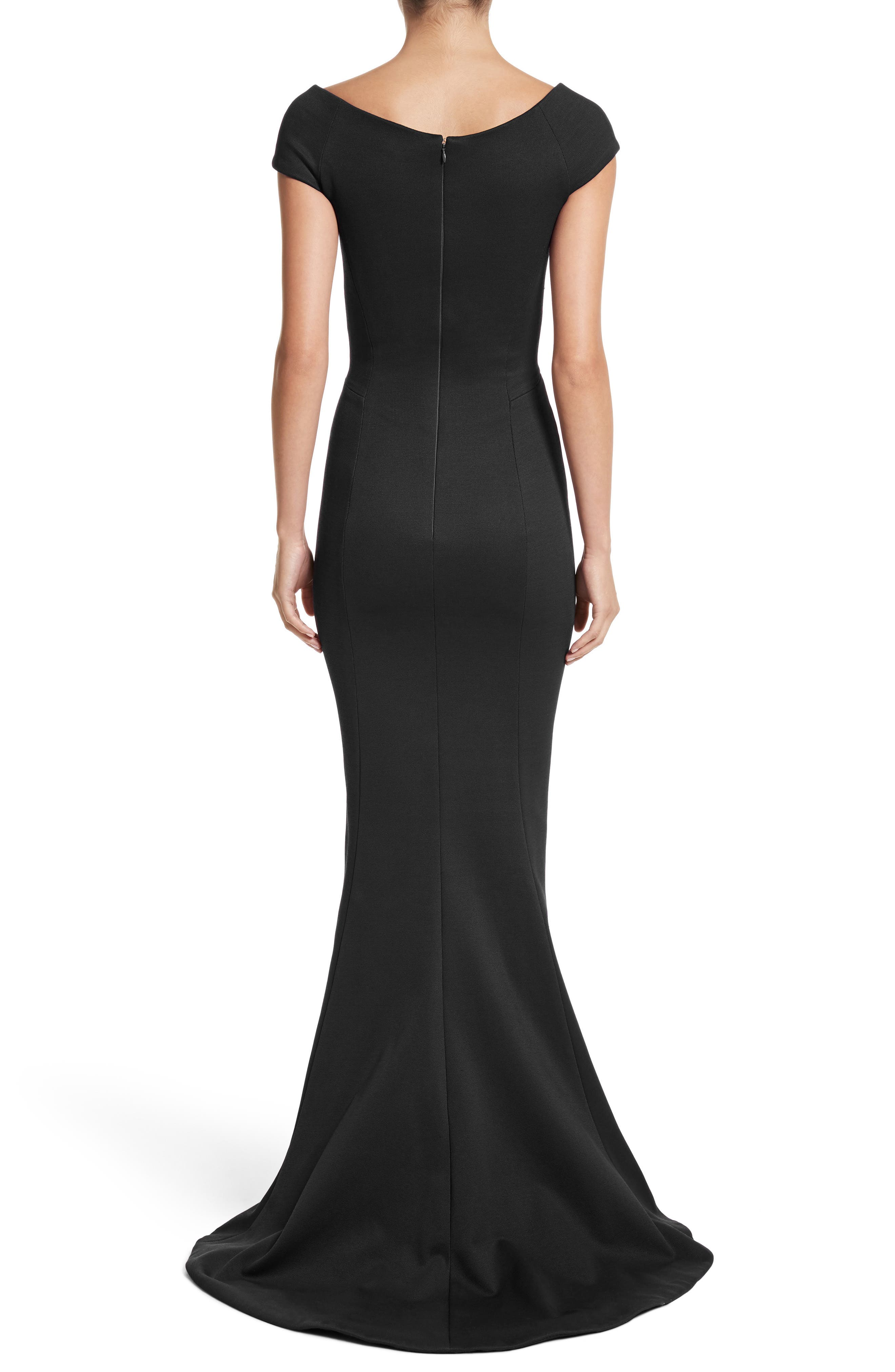 Bonded Jersey Mermaid Gown,                             Alternate thumbnail 3, color,