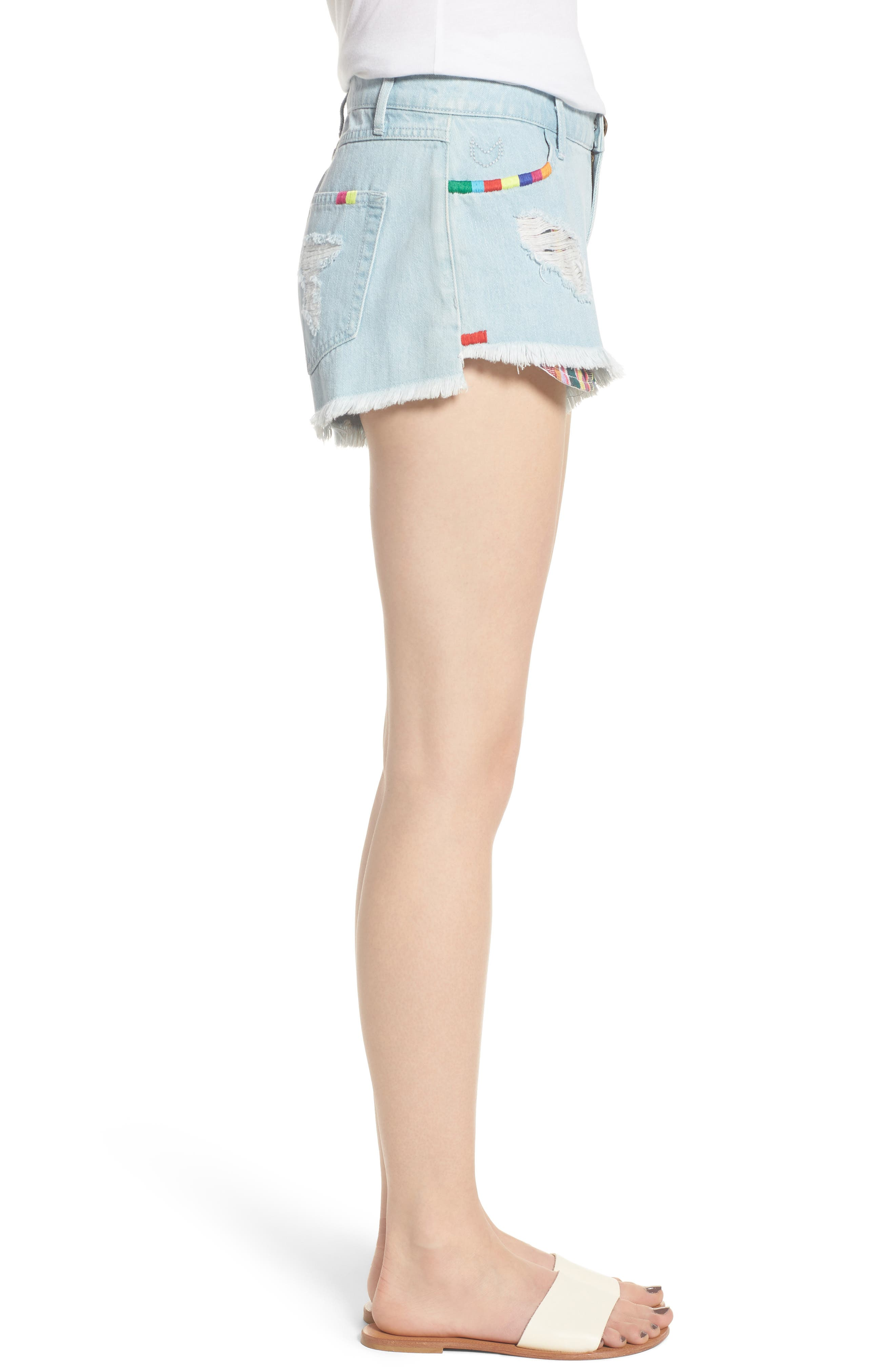 Cabo Cutoff Denim Shorts,                             Alternate thumbnail 3, color,                             400