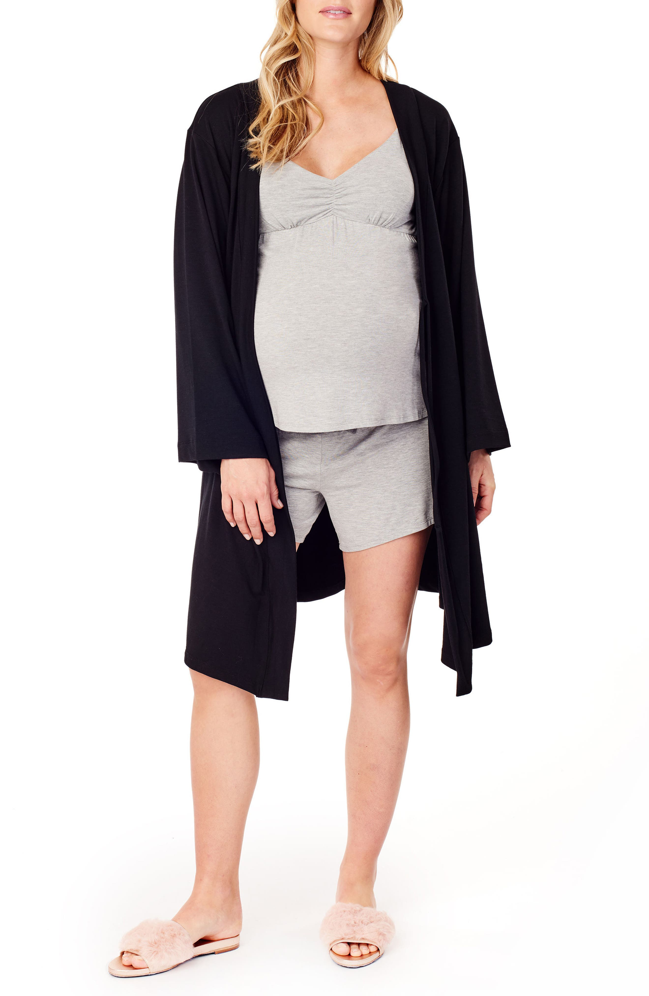 Kimono Lounge Maternity Robe,                             Alternate thumbnail 3, color,                             JET BLACK