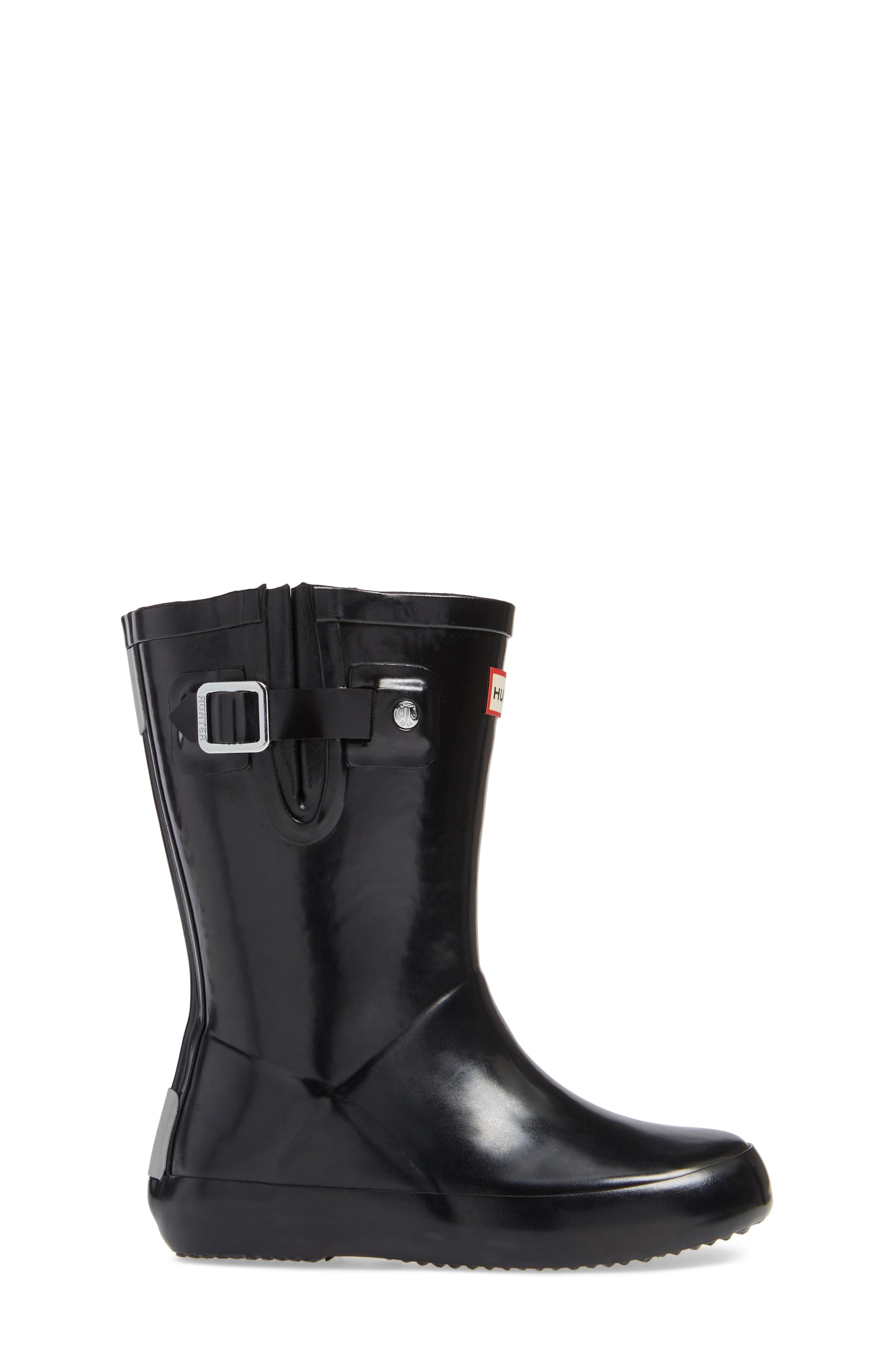 Original Flat Sole Gloss Rain Boot,                             Alternate thumbnail 3, color,                             BLACK