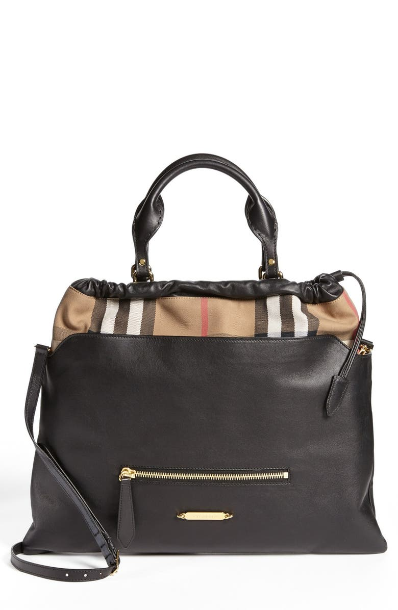 Lyst Burberry Brit Tote Canvas Check Medium Traveler In Brown 513a30c8af