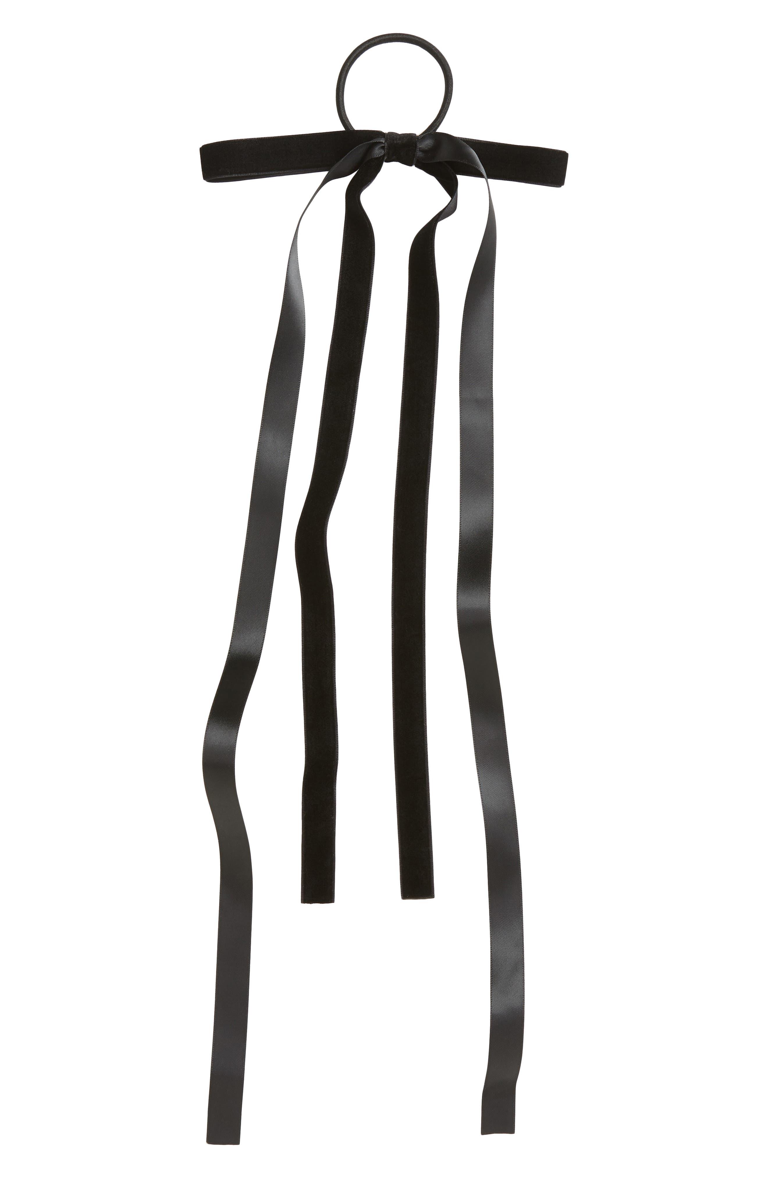 Skinny Double Bow Ponytail Holder,                             Main thumbnail 1, color,                             BLACK
