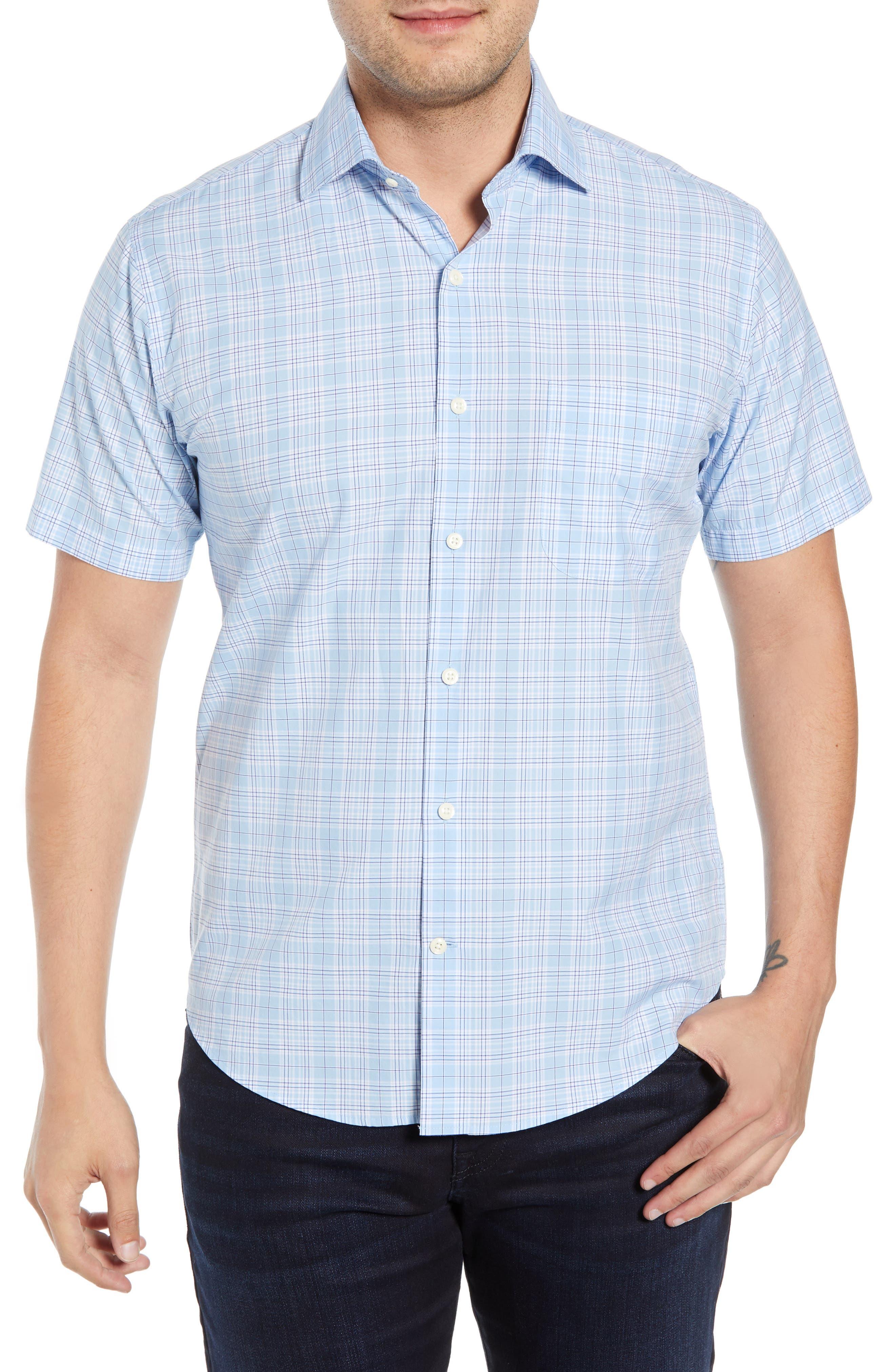 Peter Millar Piedmont Plaid Cotton Sport Shirt, Blue