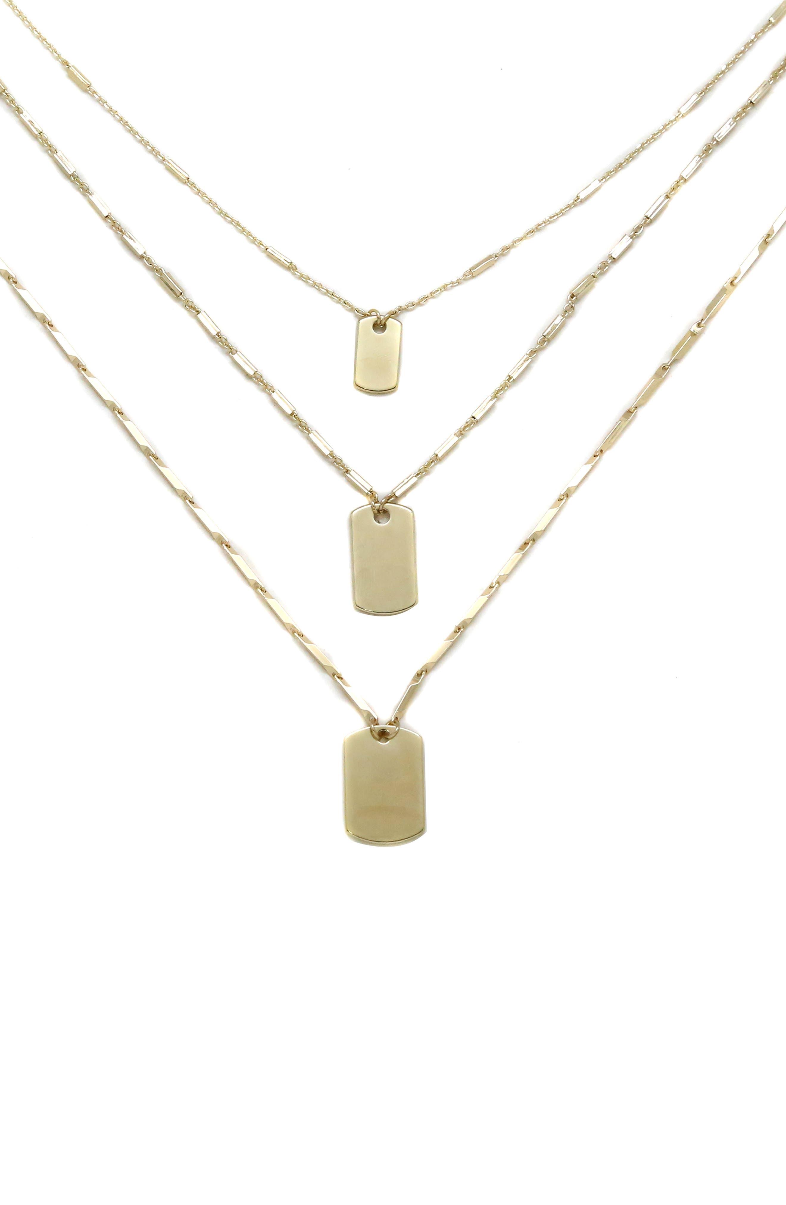 ETTIKA Set Of 3 Tag Pendant Necklaces in Gold