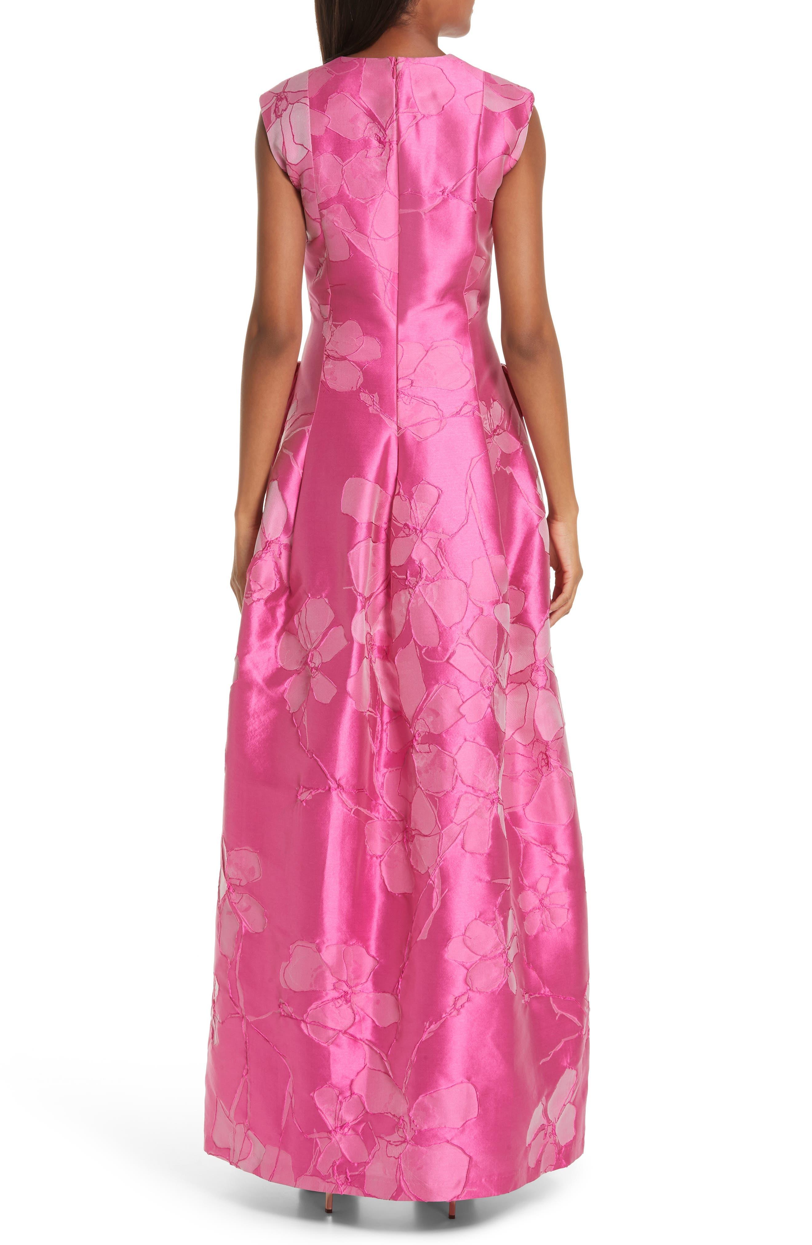 TALBOT RUNHOF,                             Floral V-Neck Evening Dress,                             Alternate thumbnail 2, color,                             FUCHSIA PINK