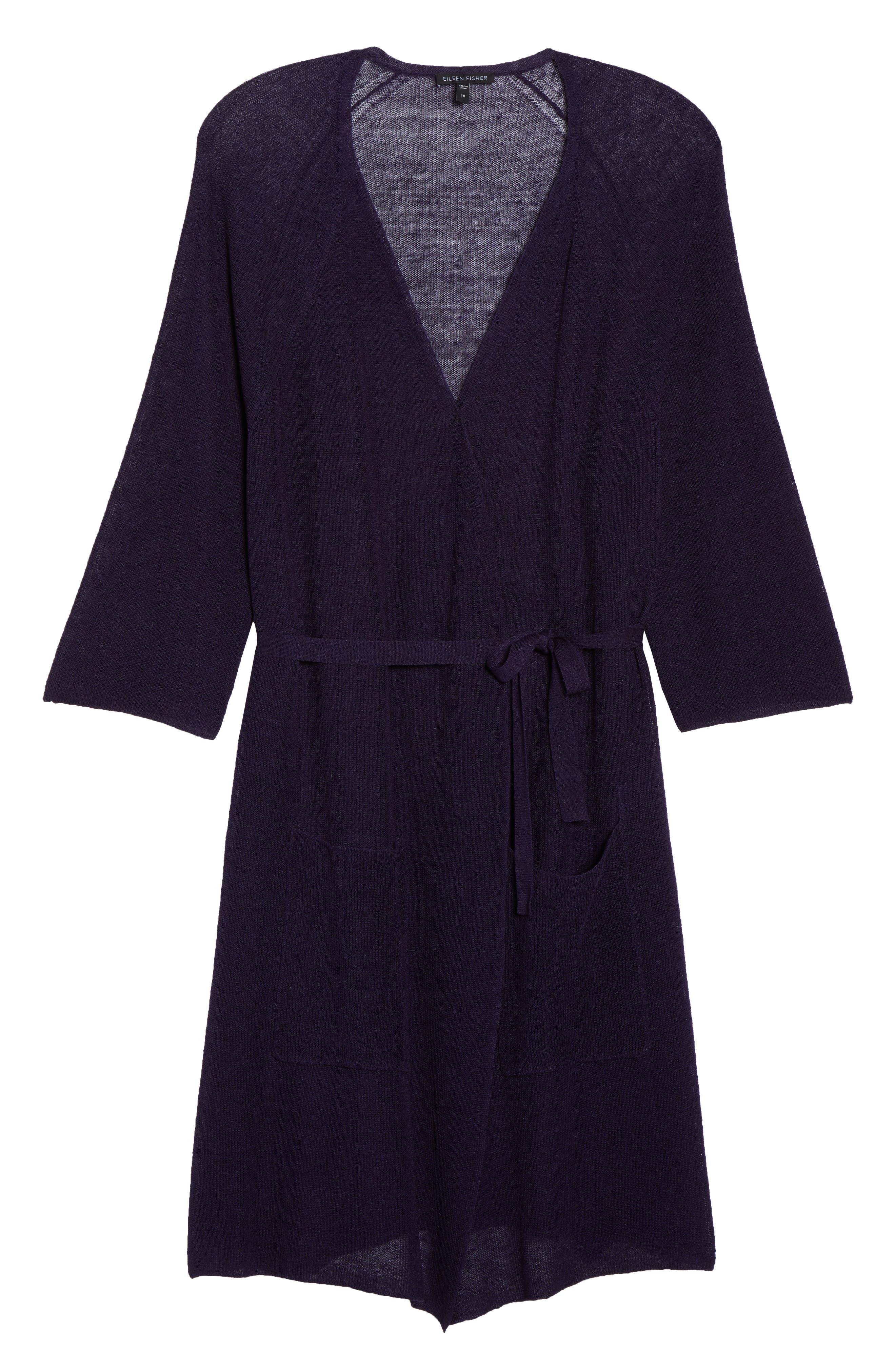 Long Organic Linen Blend Kimono Cardigan,                             Alternate thumbnail 19, color,