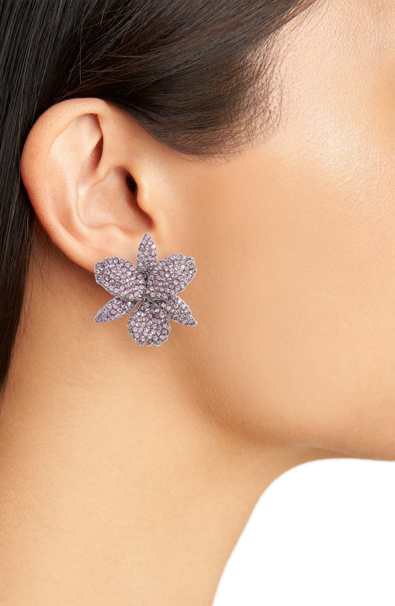 Large Orchid Swarovski Crystal Stud Earrings,                             Alternate thumbnail 2, color,                             BLACK/ LIGHT AMETHYST