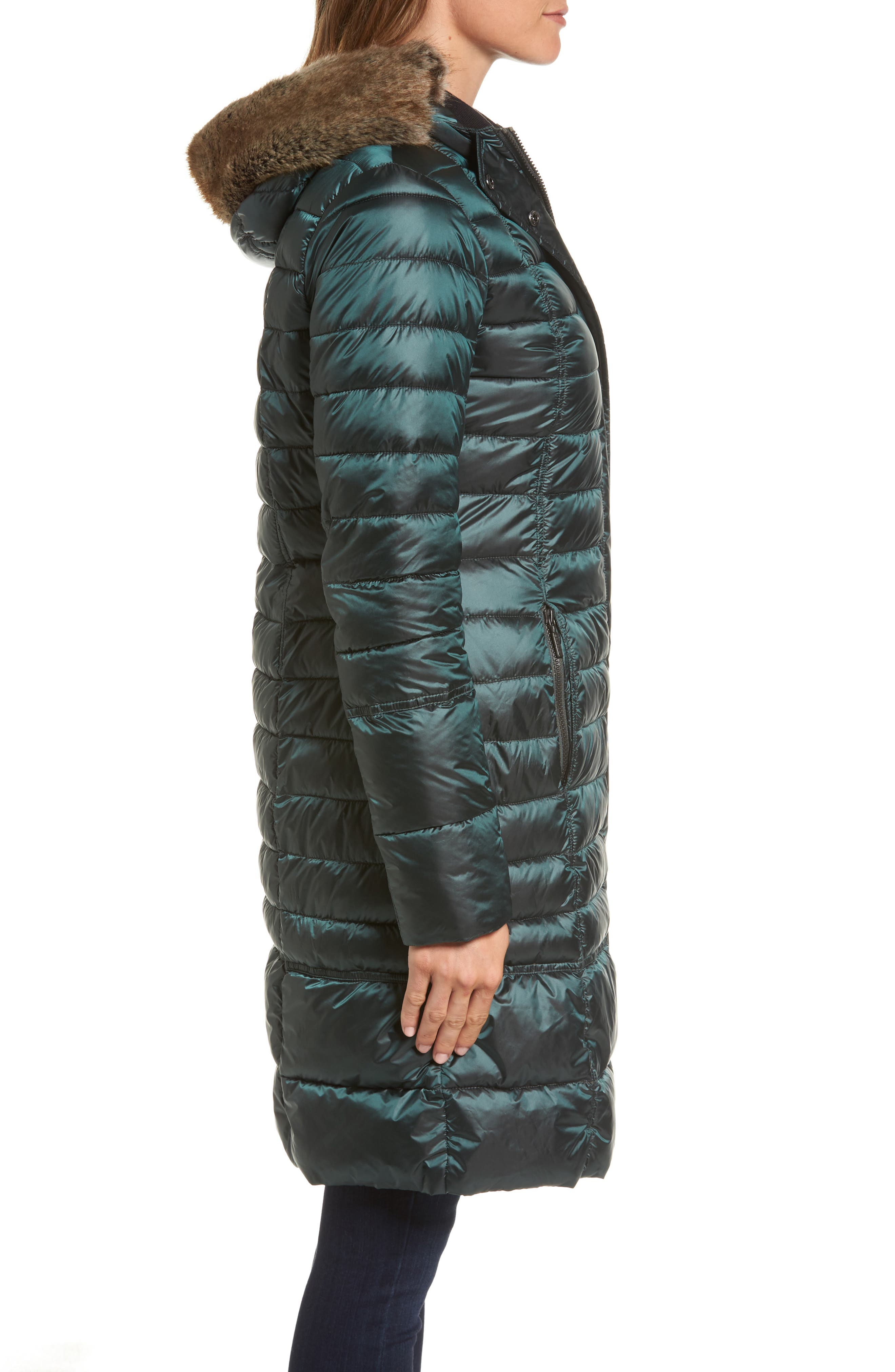Fortrose Hooded Quilted Coat with Faux Fur Trim,                             Alternate thumbnail 6, color,