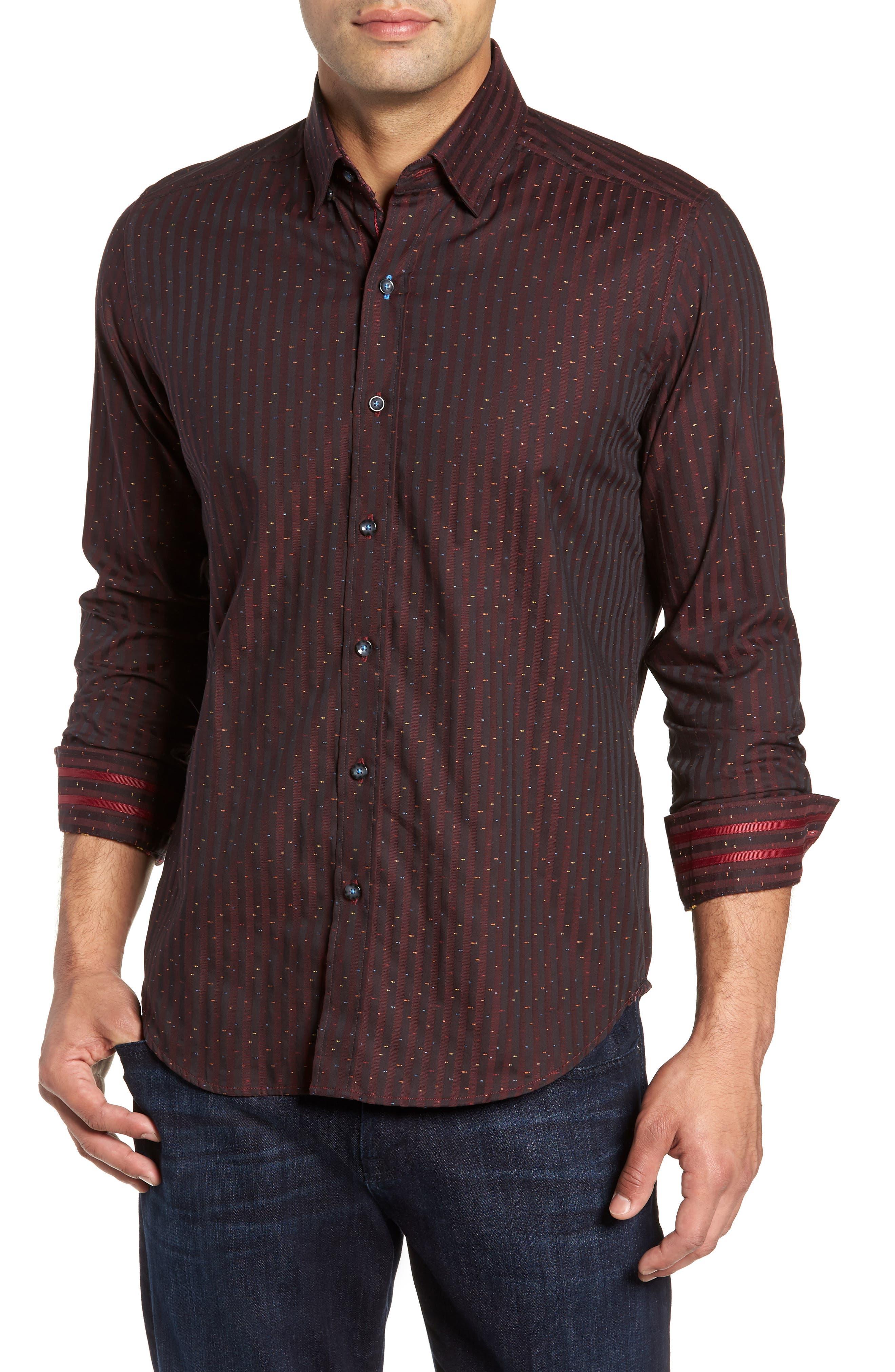 ROBERT GRAHAM McDermott Tailored Fit Print Sport Shirt, Main, color, 603