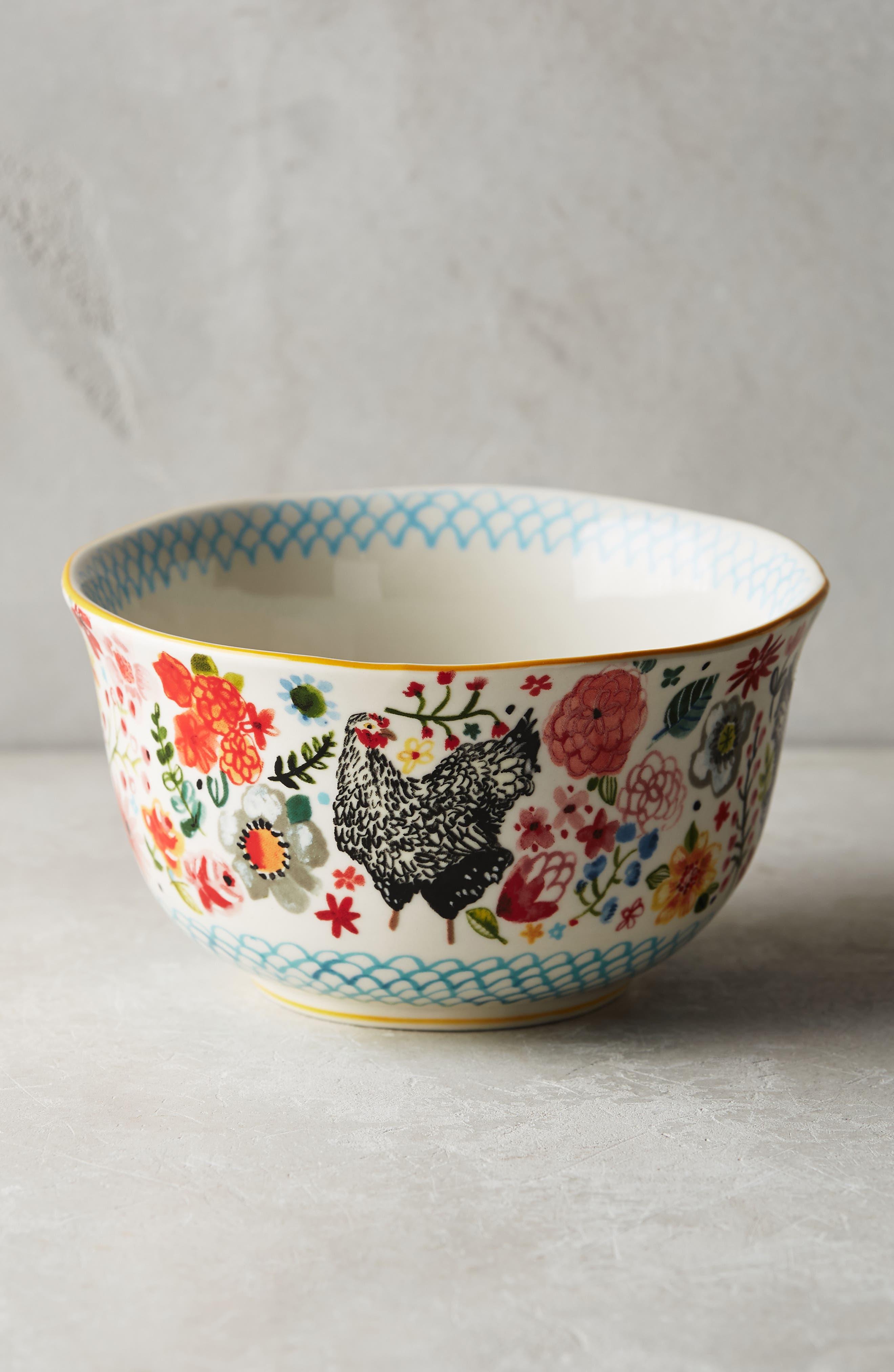 Wing & Petal Stoneware Bowl,                             Alternate thumbnail 5, color,