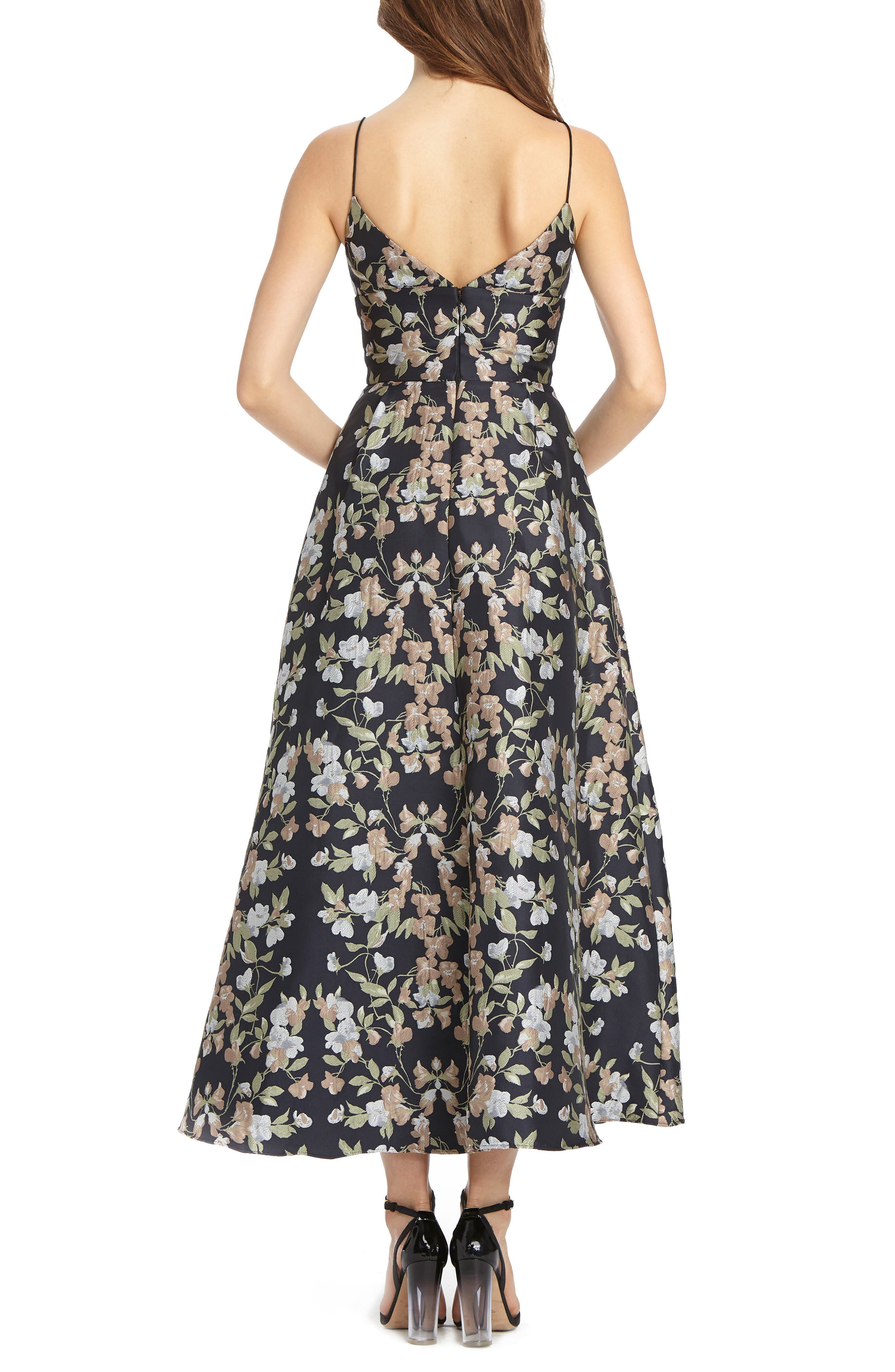 Floral Jacquard Maxi Dress,                             Alternate thumbnail 2, color,
