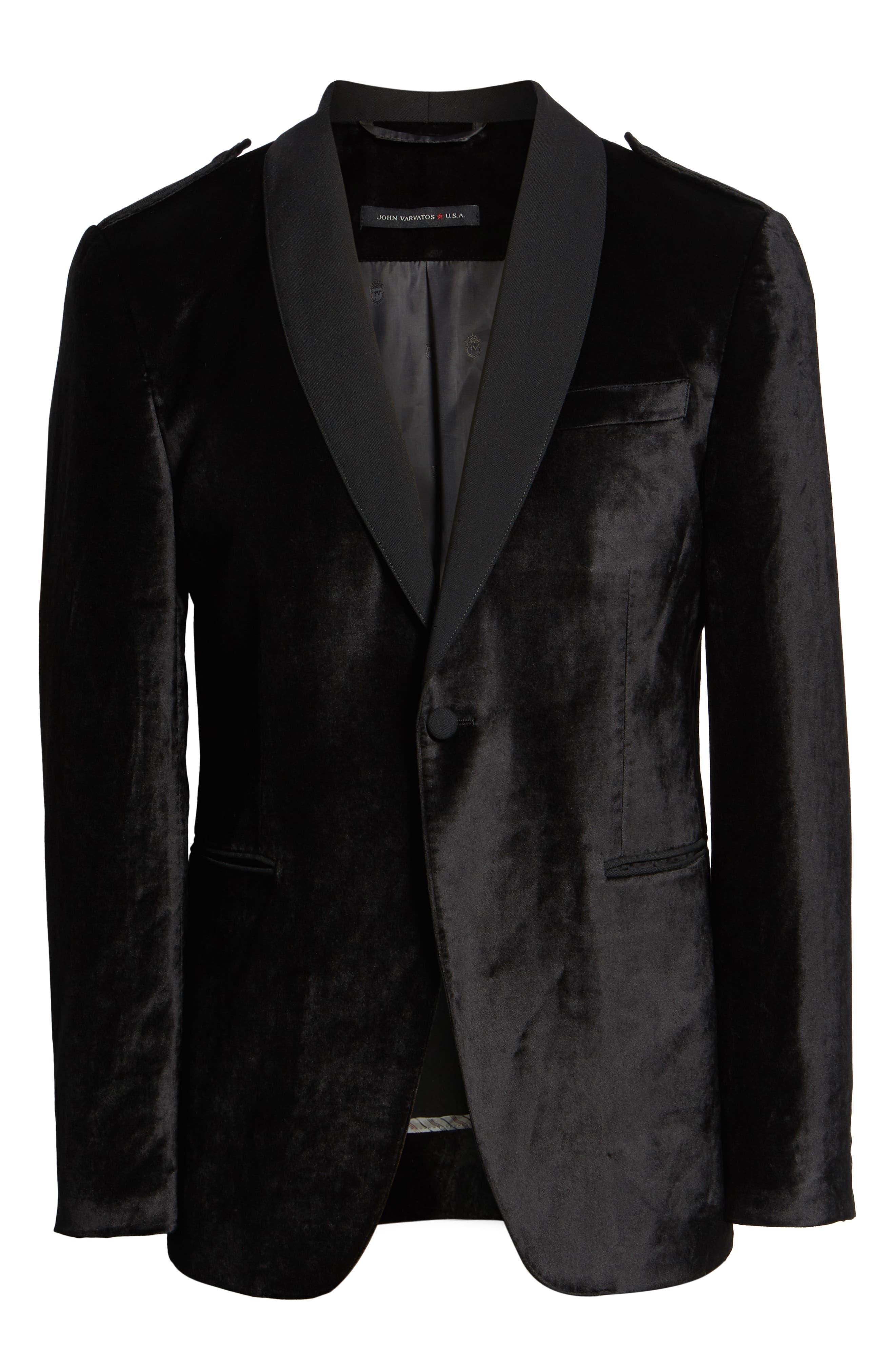JOHN VARVATOS STAR USA,                             Shawl Collar Velvet Dinner Jacket,                             Alternate thumbnail 5, color,                             001