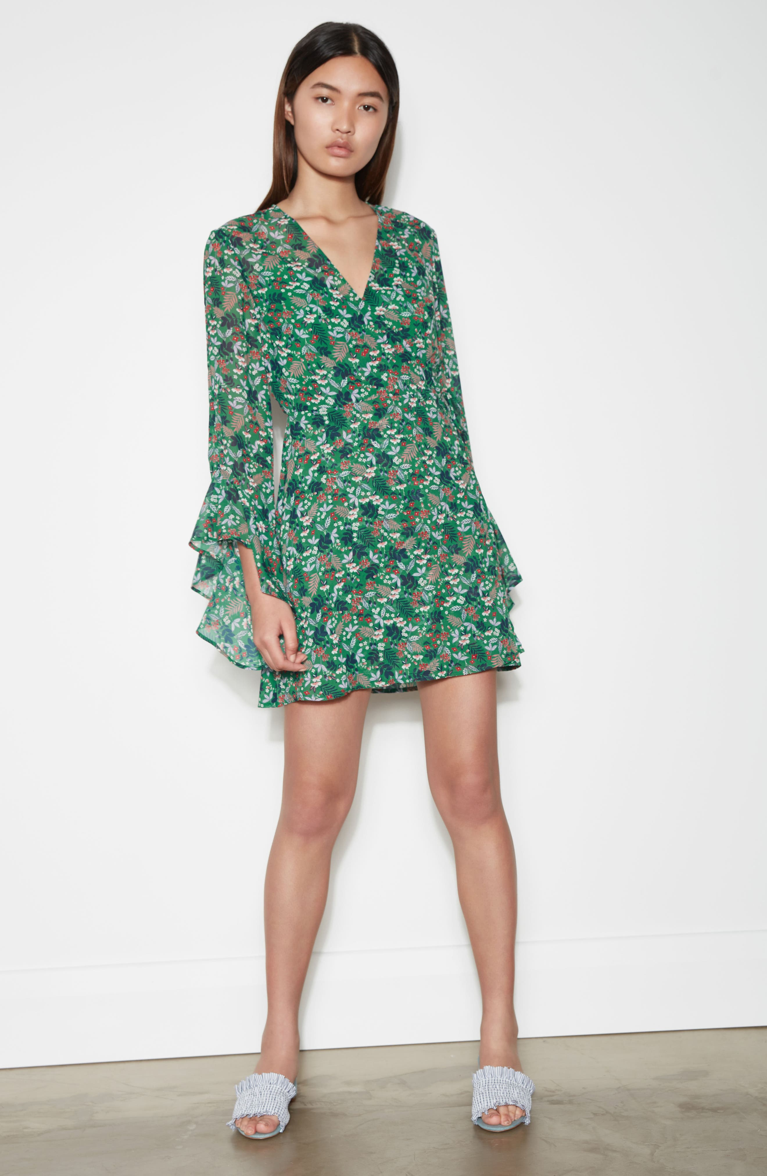 Viridian Floral Wrap Dress,                             Alternate thumbnail 8, color,