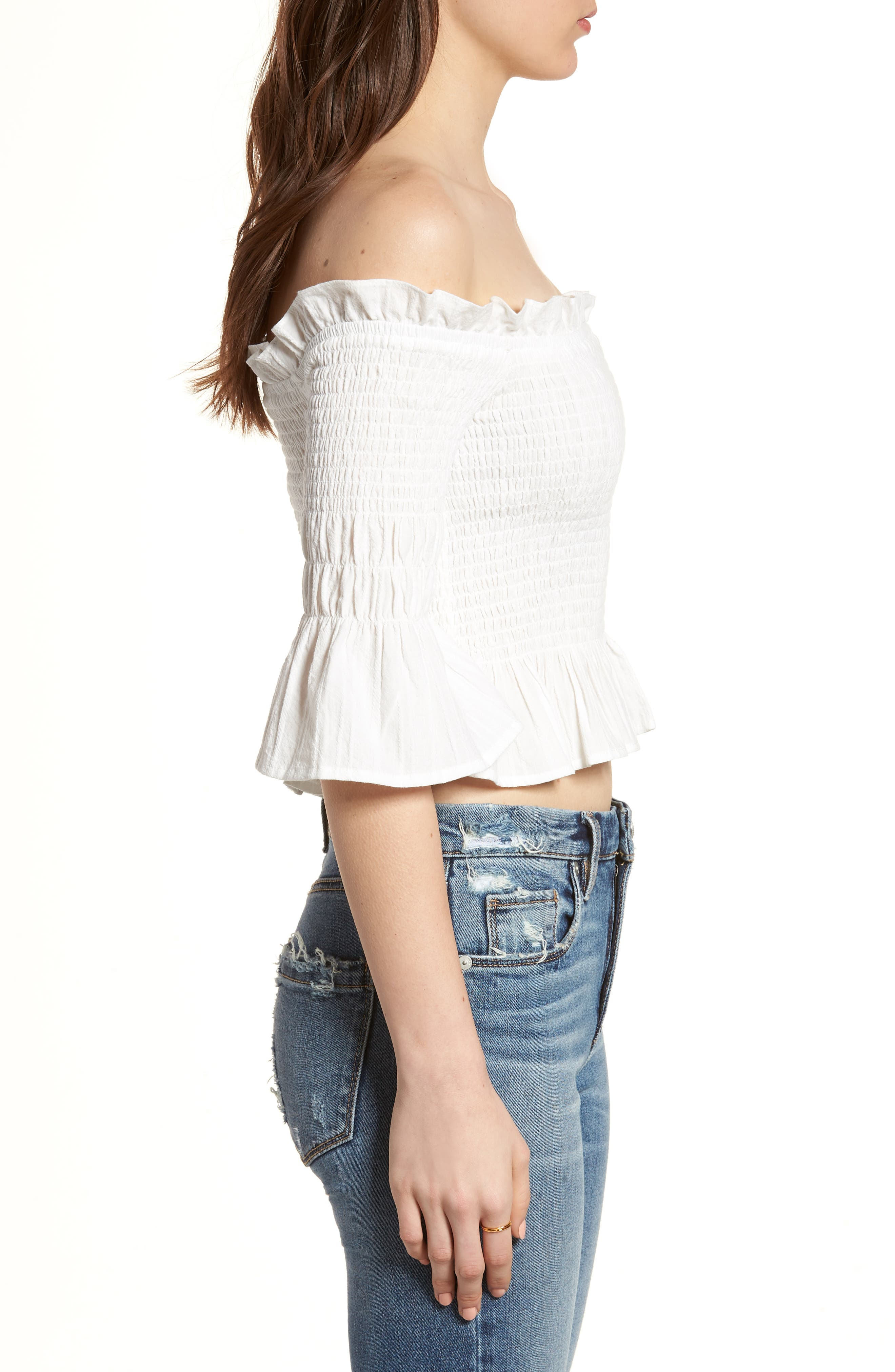 Smocked Off the Shoulder Top,                             Alternate thumbnail 3, color,                             100