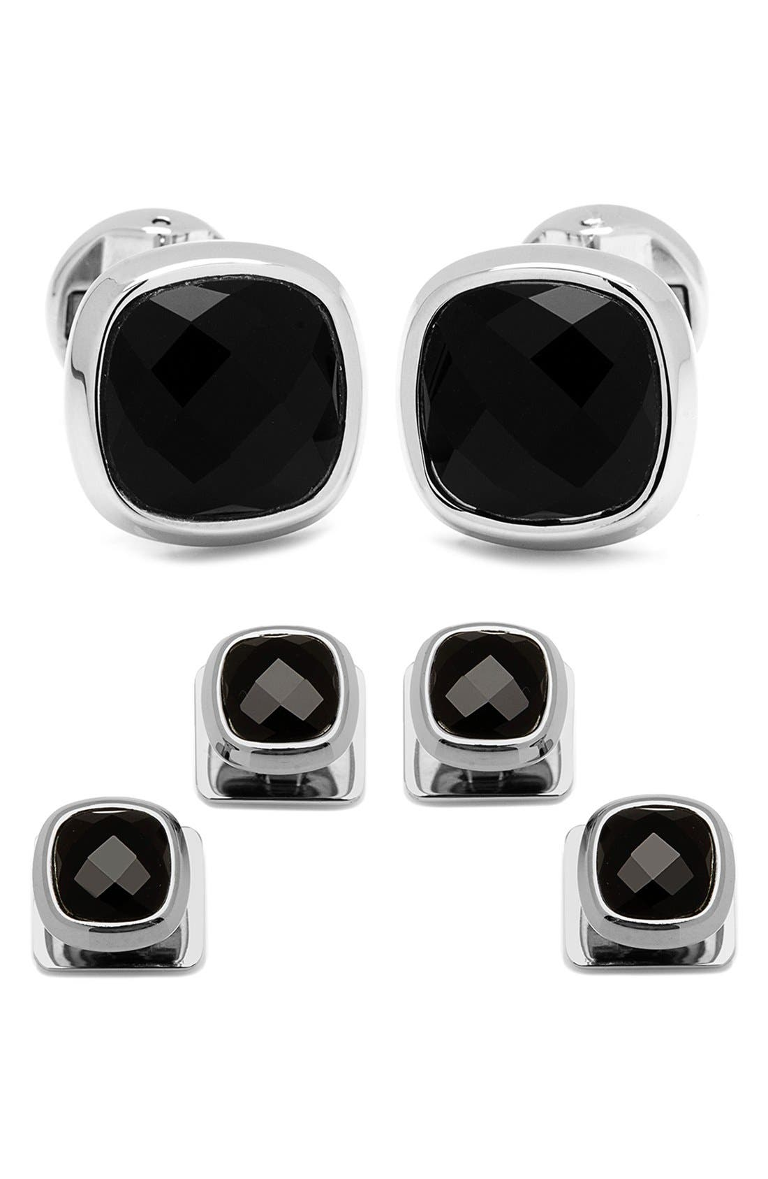 Onyx Cuff Links & Shirt Stud Set,                             Main thumbnail 1, color,                             001
