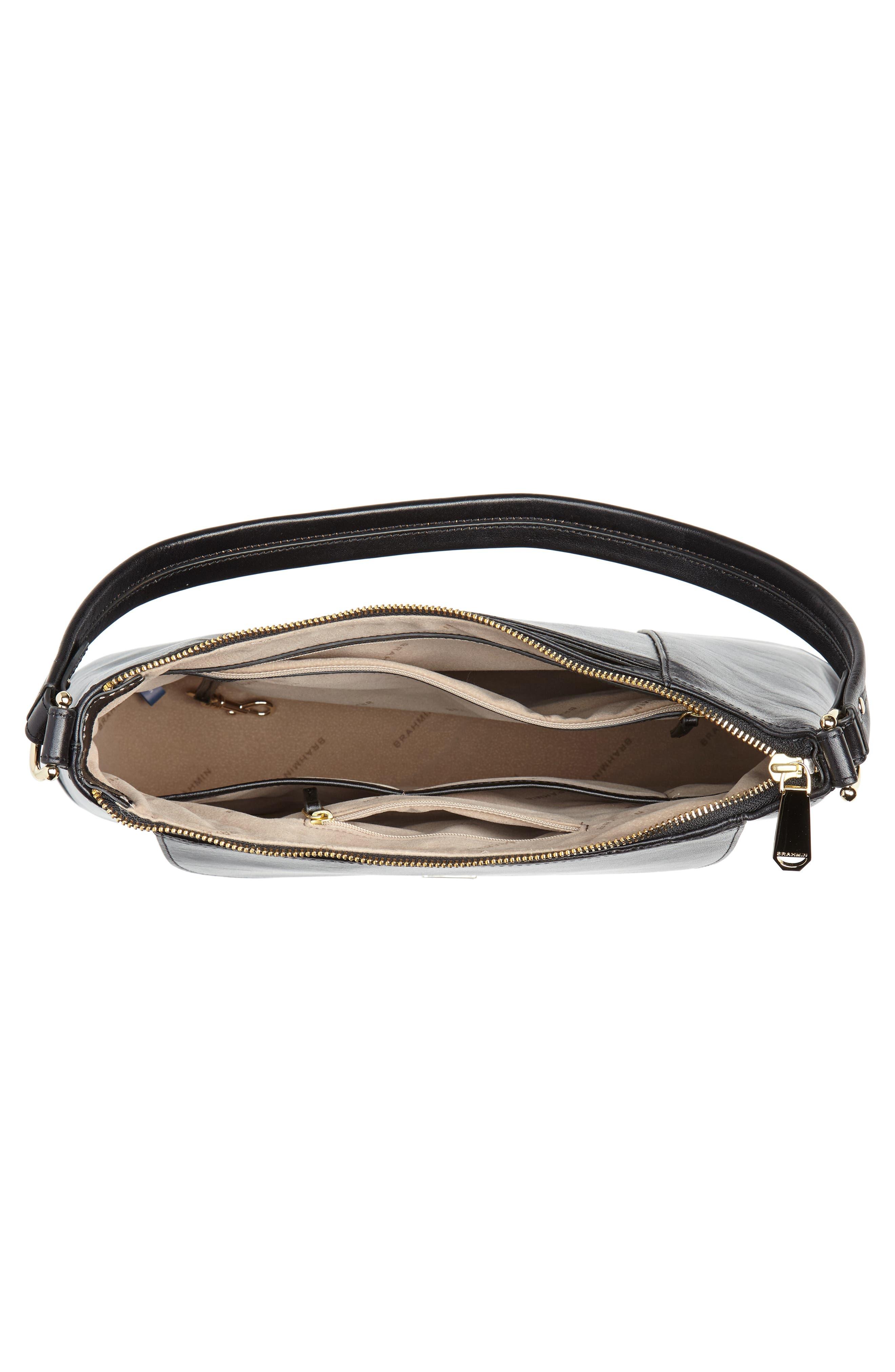 Weslynn Leather Shoulder Bag,                             Alternate thumbnail 4, color,                             BLACK