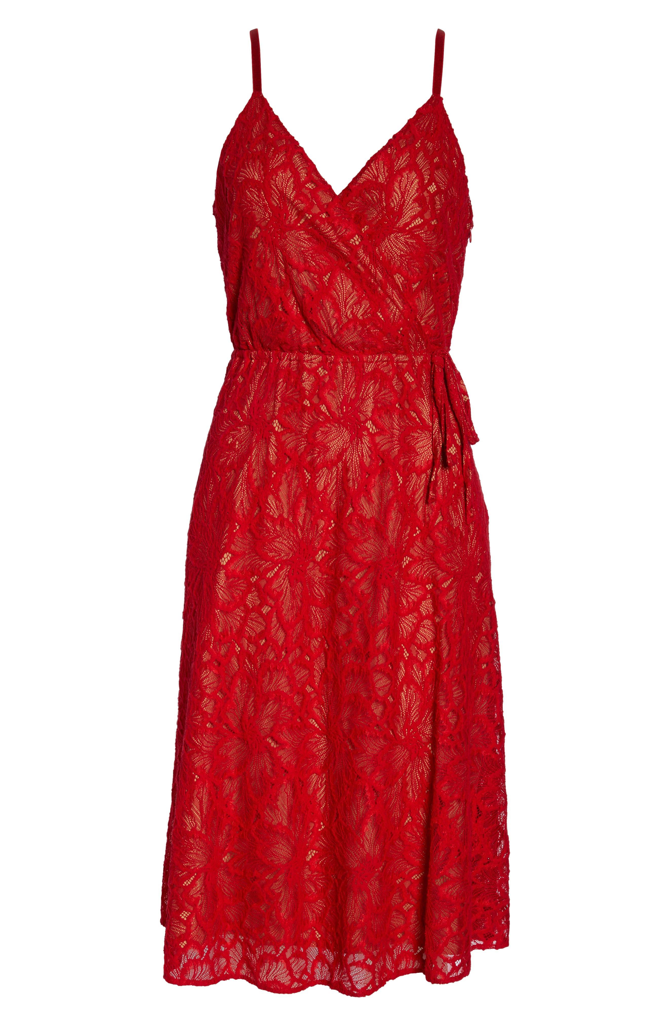 ALI & JAY,                             Cheek to Cheek Lace Midi Dress,                             Alternate thumbnail 7, color,                             SCARLET