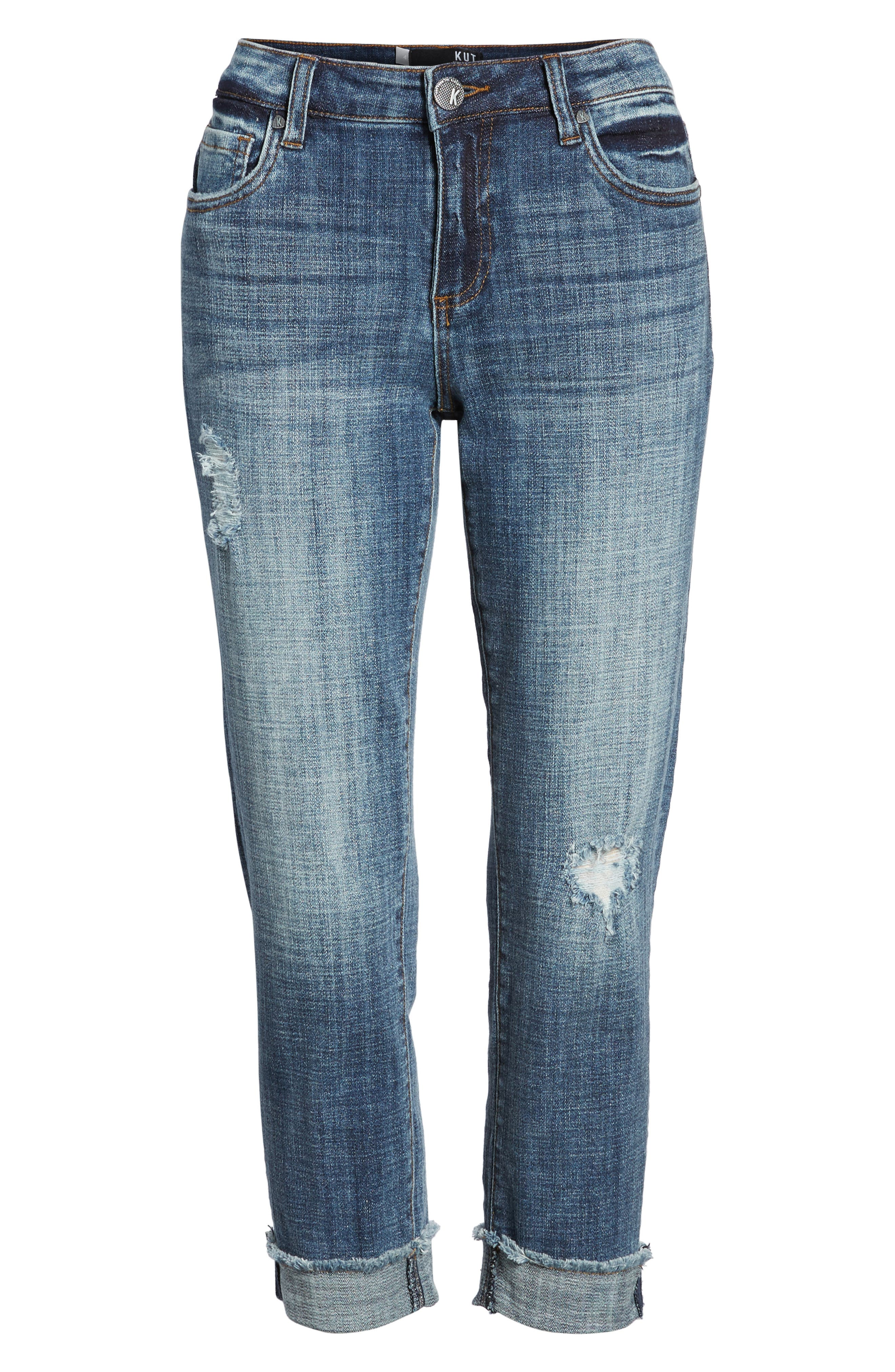 KUT FROM THE KLOTH,                             Amy Distressed Crop Jeans,                             Alternate thumbnail 7, color,                             400
