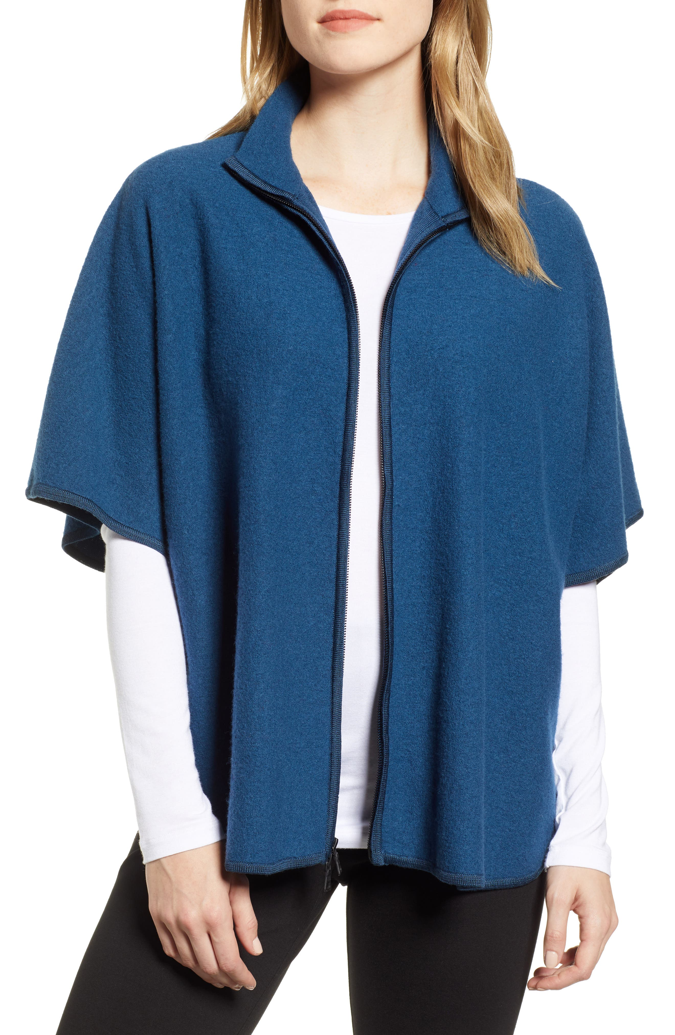 ANNE KLEIN Zip Front Wool Cape in Juniper