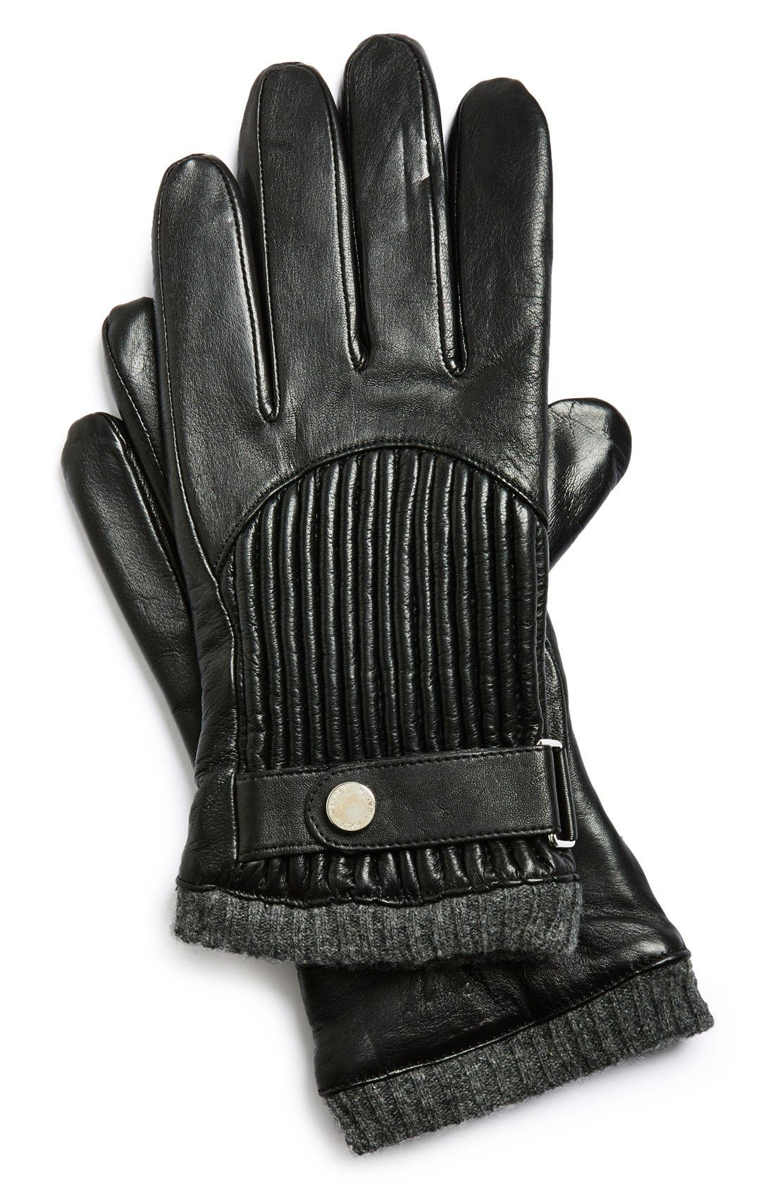 Quilted Leather Gloves,                             Main thumbnail 1, color,                             001