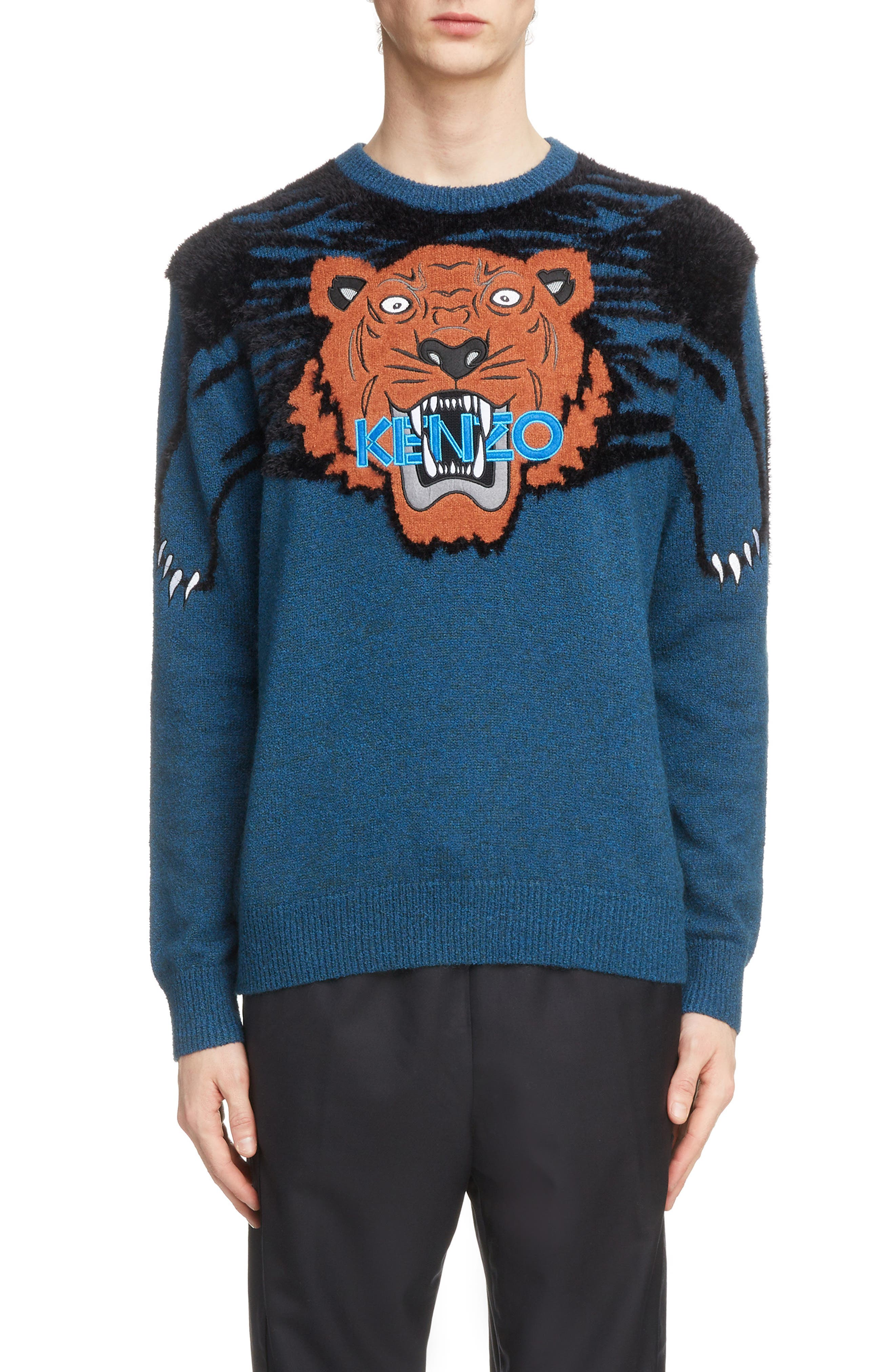 Tiger Claw Crewneck Sweater,                             Main thumbnail 1, color,                             PINE