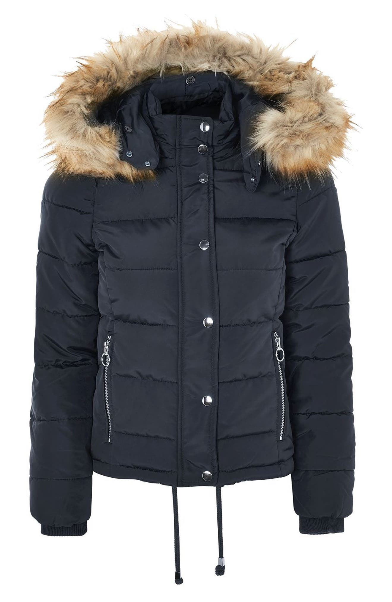 Nancy Quilted Puffer Jacket with Faux Fur Trim,                             Alternate thumbnail 3, color,                             410