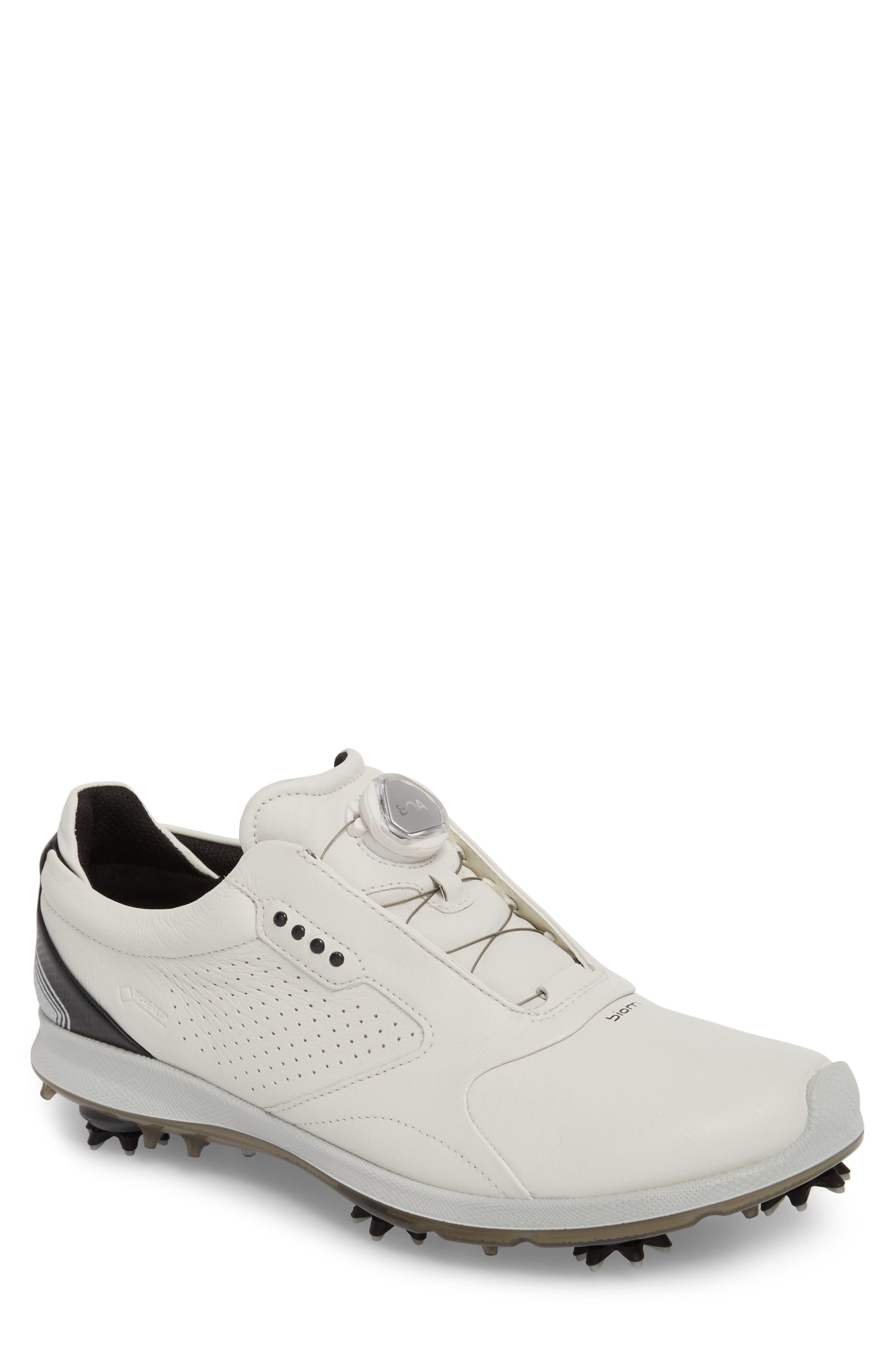 BIOM 2 BOA Gore-Tex<sup>®</sup> Golf Shoe,                             Main thumbnail 1, color,                             WHITE/ BLACK LEATHER