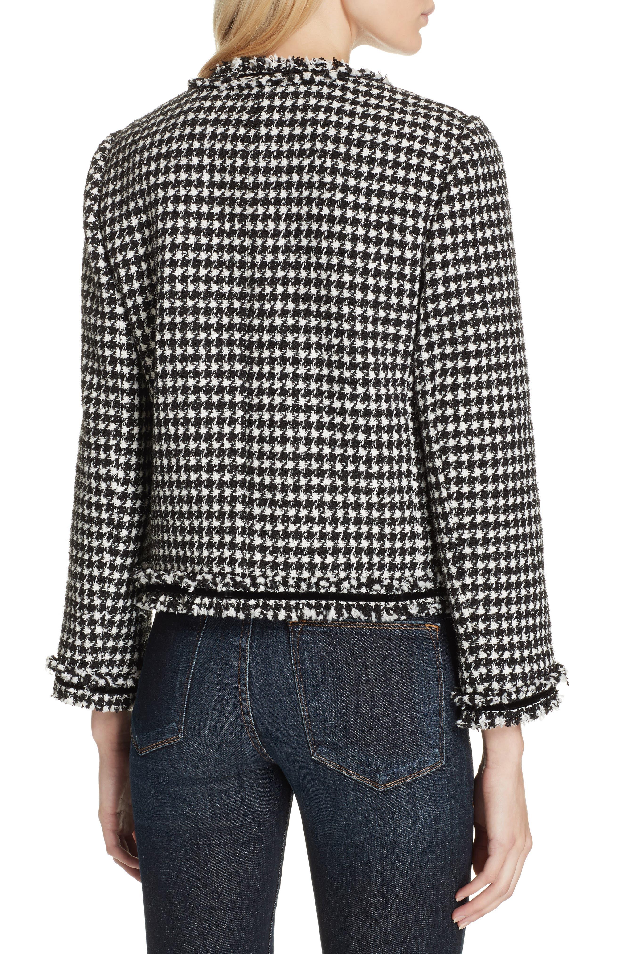 houndstooth tweed jacket,                             Alternate thumbnail 2, color,                             BLACK/ CREAM