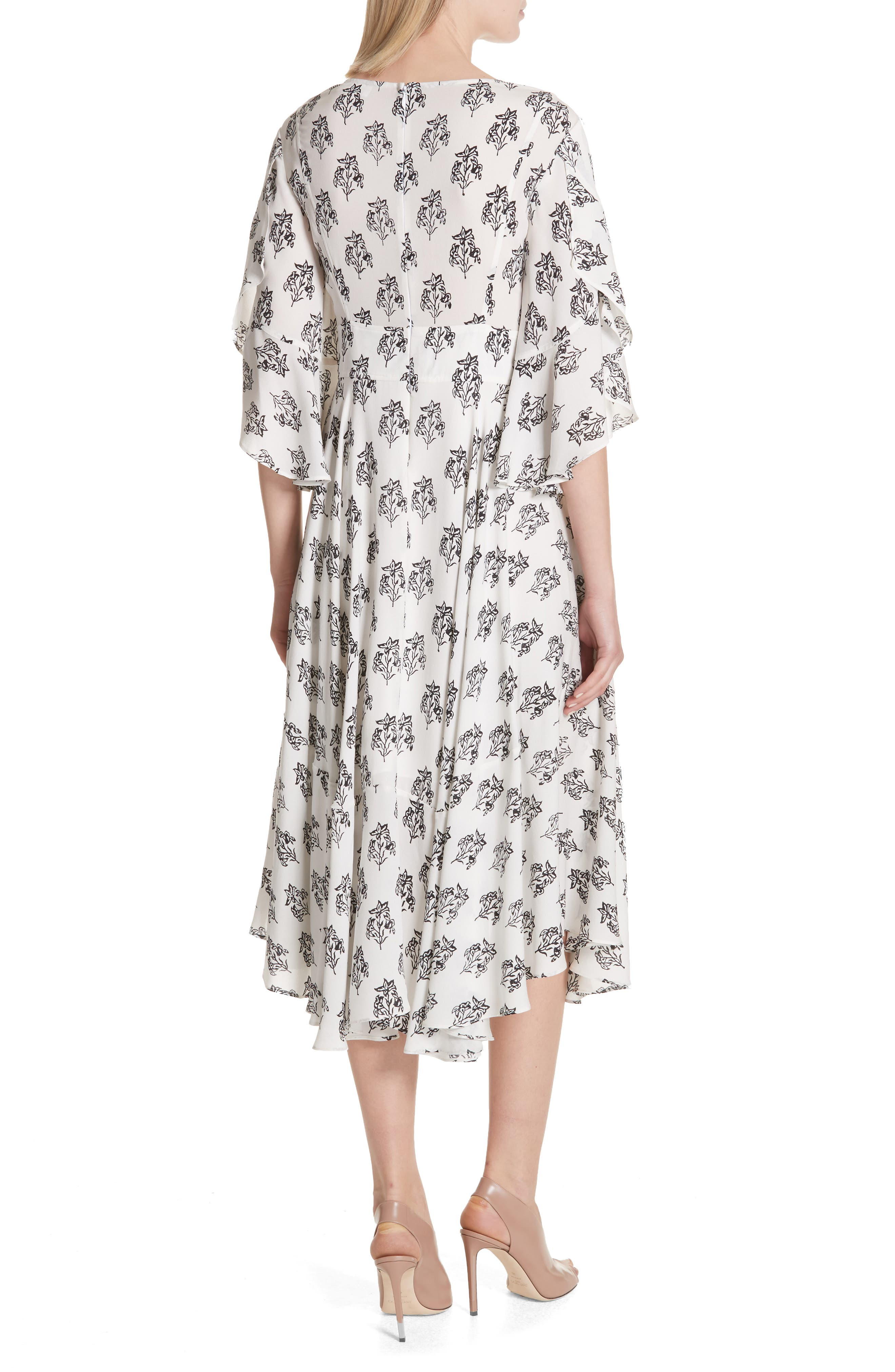 McKenna Print Asymmetrical Silk Dress,                             Alternate thumbnail 2, color,                             110