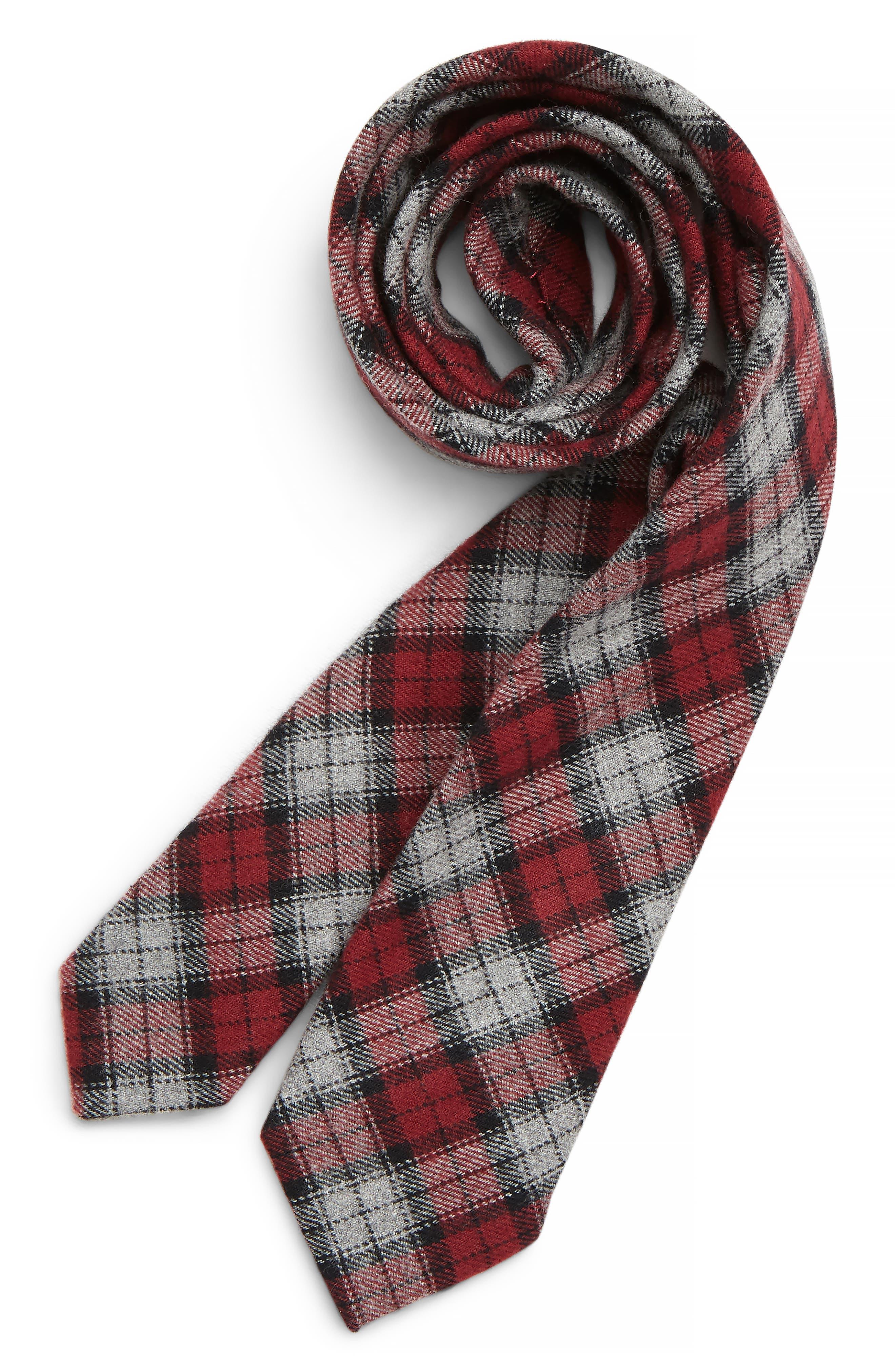 Plaid Cotton Tie,                             Main thumbnail 1, color,                             RED