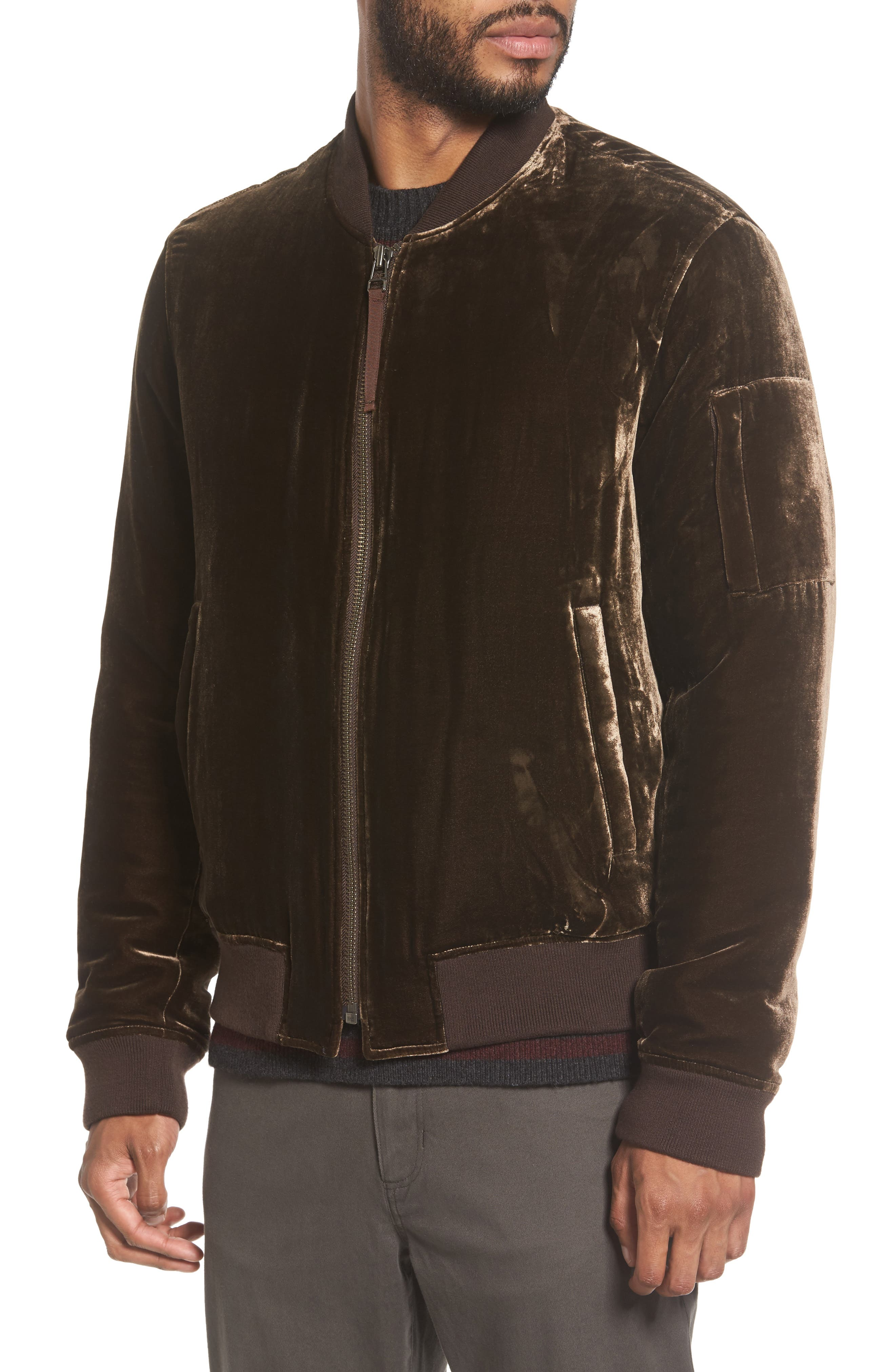 Velvet Bomber Jacket,                             Alternate thumbnail 4, color,