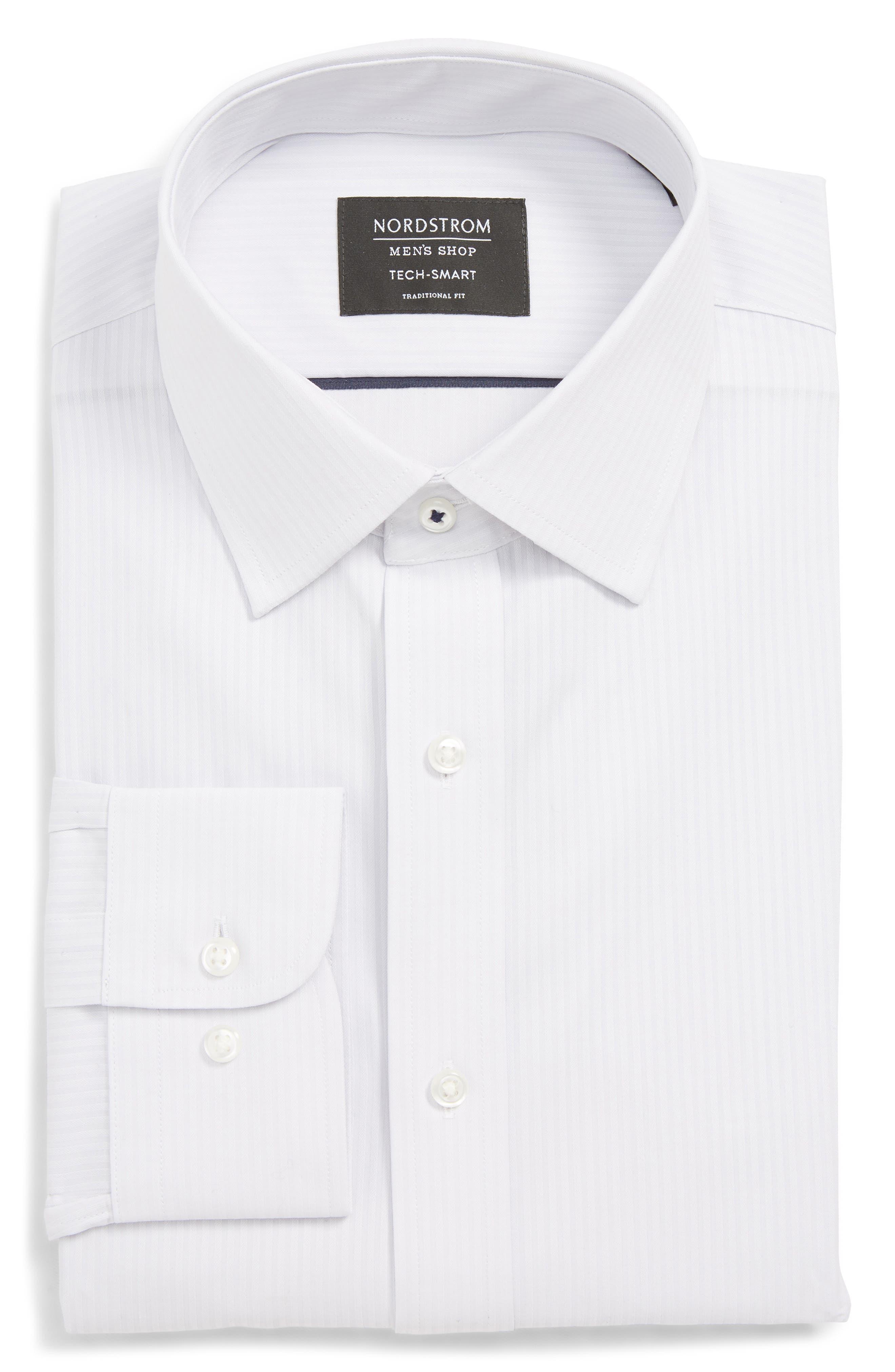 Tech-Smart Traditional Fit Stretch Stripe Dress Shirt,                         Main,                         color, GREY MICRO