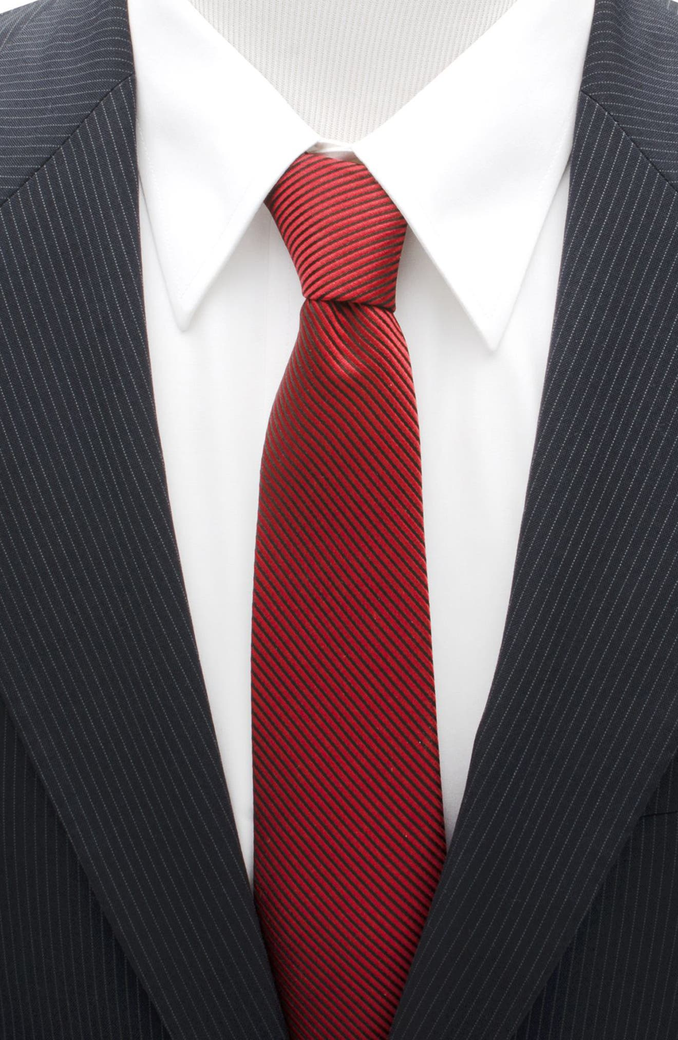 Ant-Man Stripe Silk Tie,                             Alternate thumbnail 2, color,                             RED