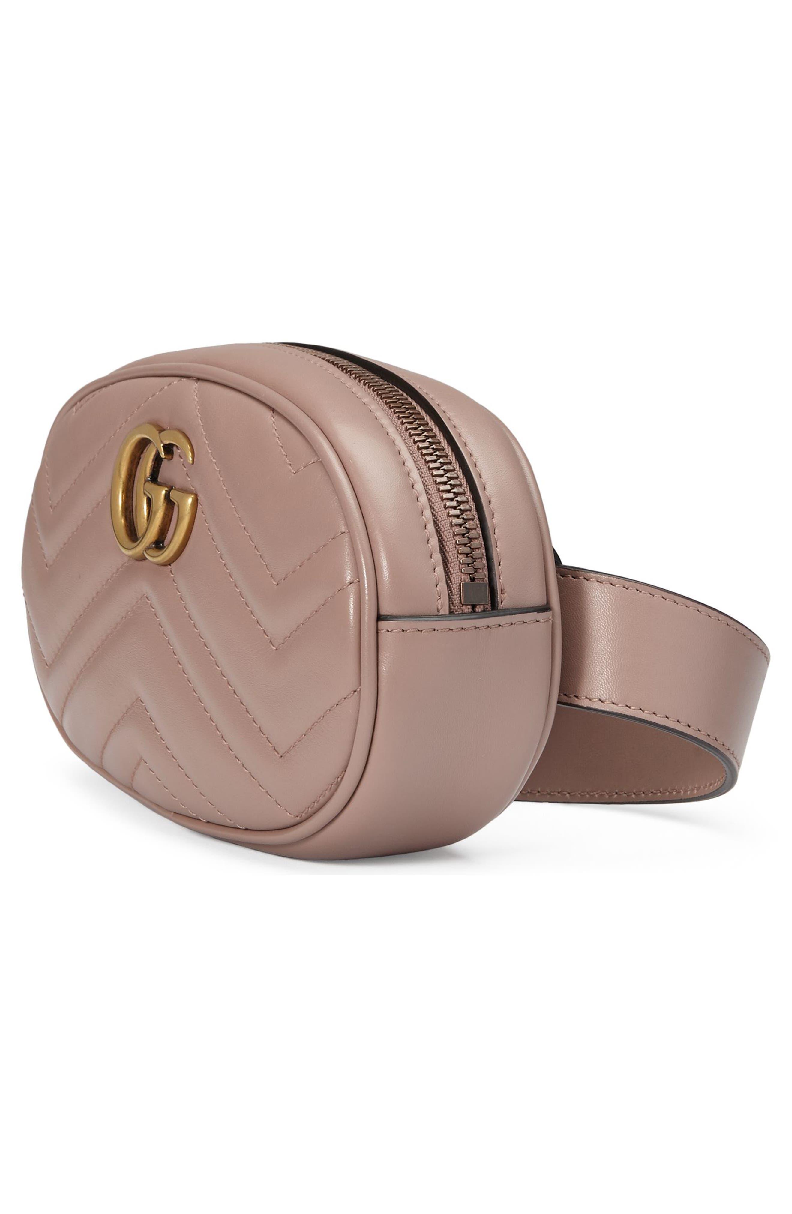GG Marmont 2.0 Matelassé Leather Belt Bag,                             Alternate thumbnail 4, color,                             PORCELAIN ROSE