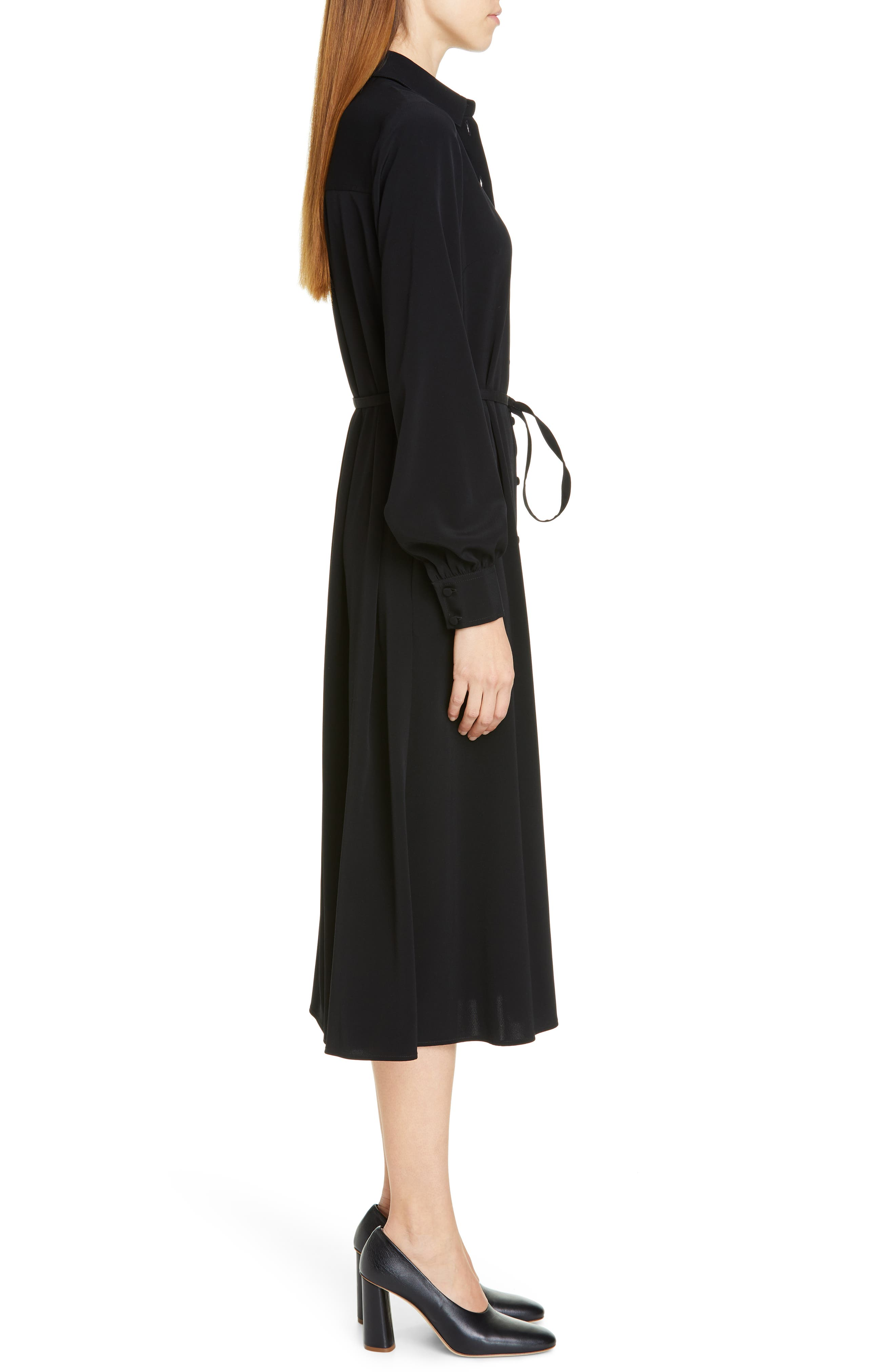 CO,                             Belted Shirtdress,                             Alternate thumbnail 3, color,                             BLACK