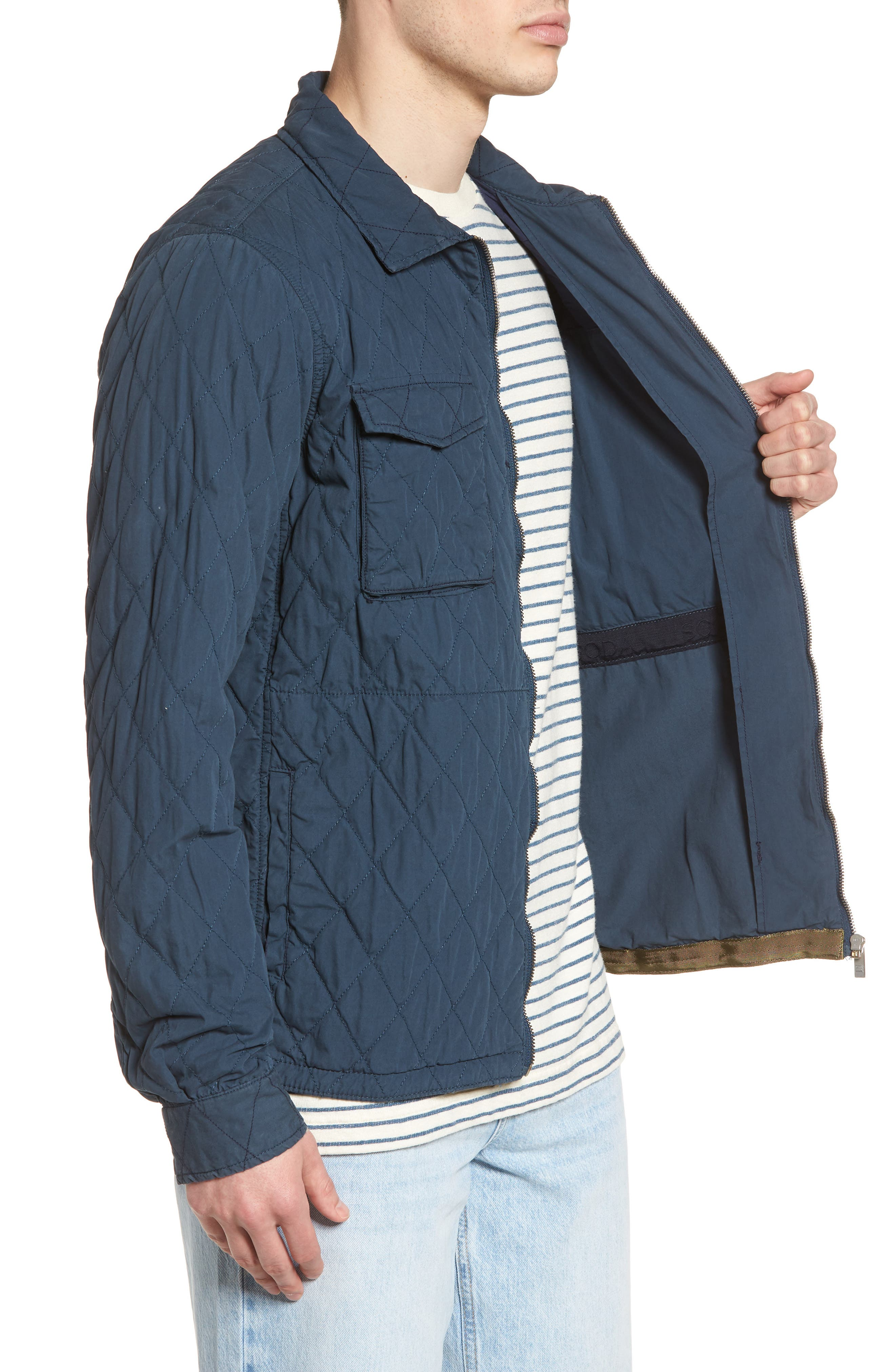 Quilted Shirt Jacket,                             Alternate thumbnail 3, color,                             STEEL