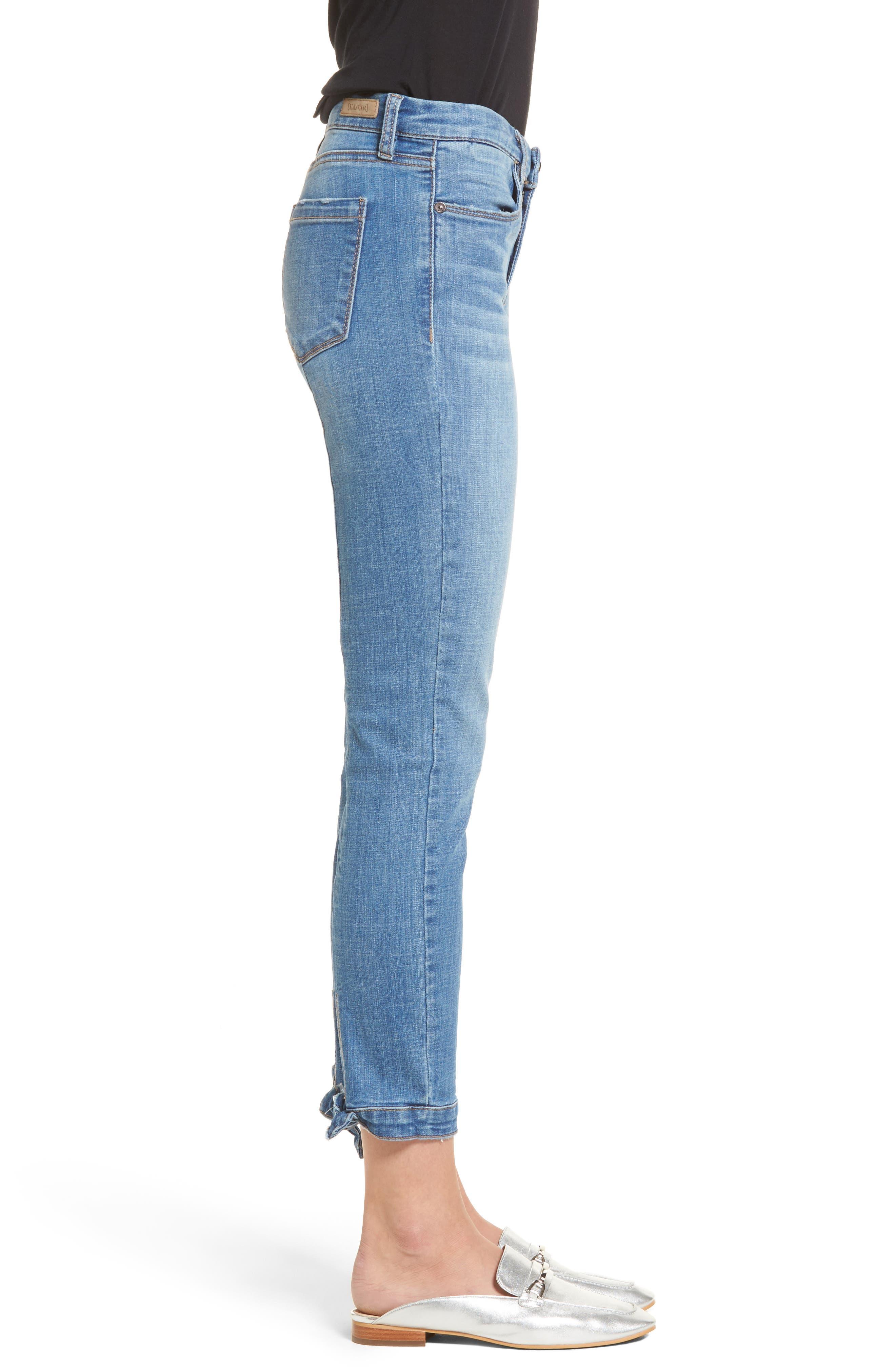 Happy Place Tie Hem Skinny Jeans,                             Alternate thumbnail 3, color,                             400