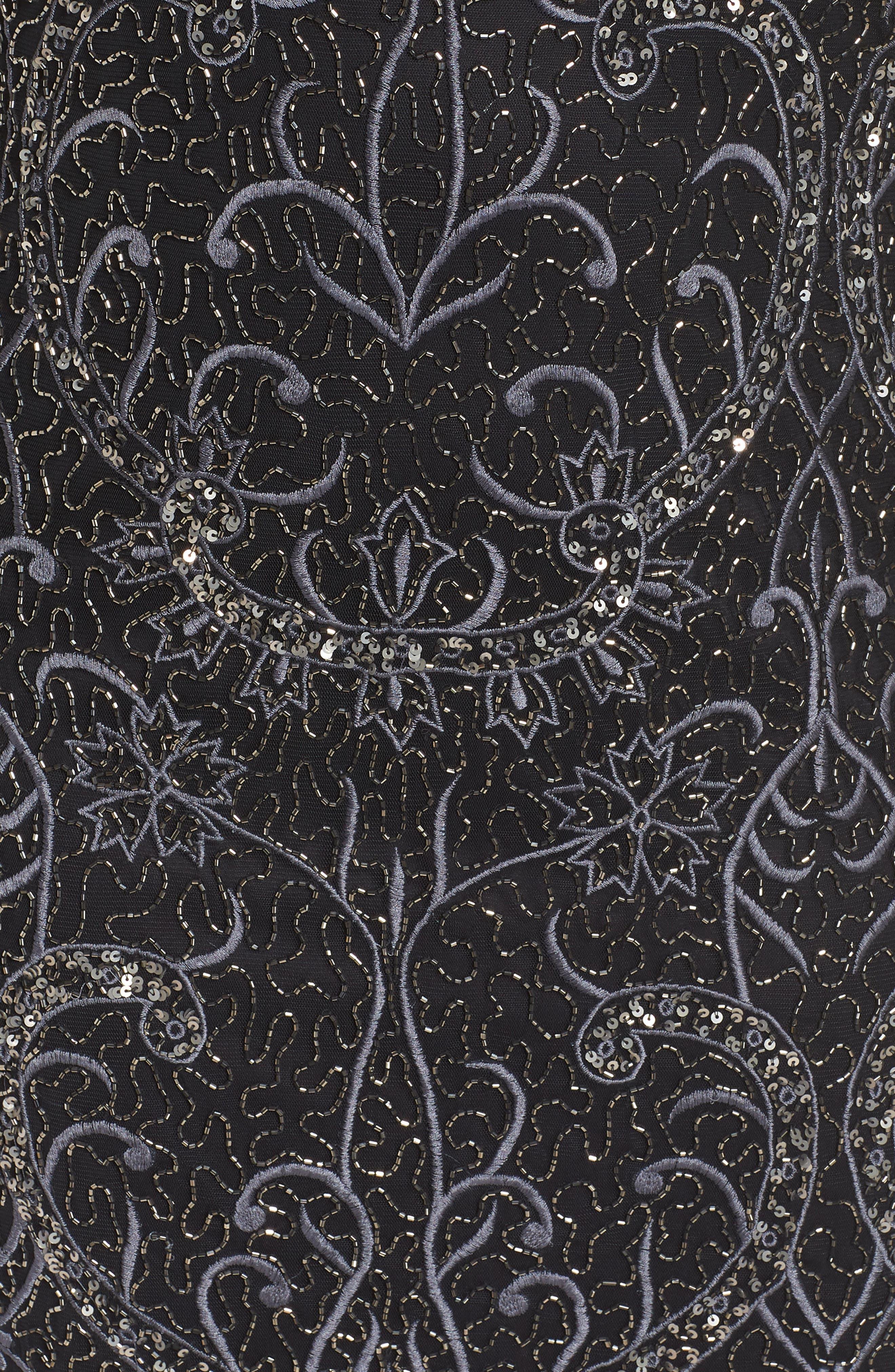 Embellished Sheath Dress,                             Alternate thumbnail 6, color,                             001