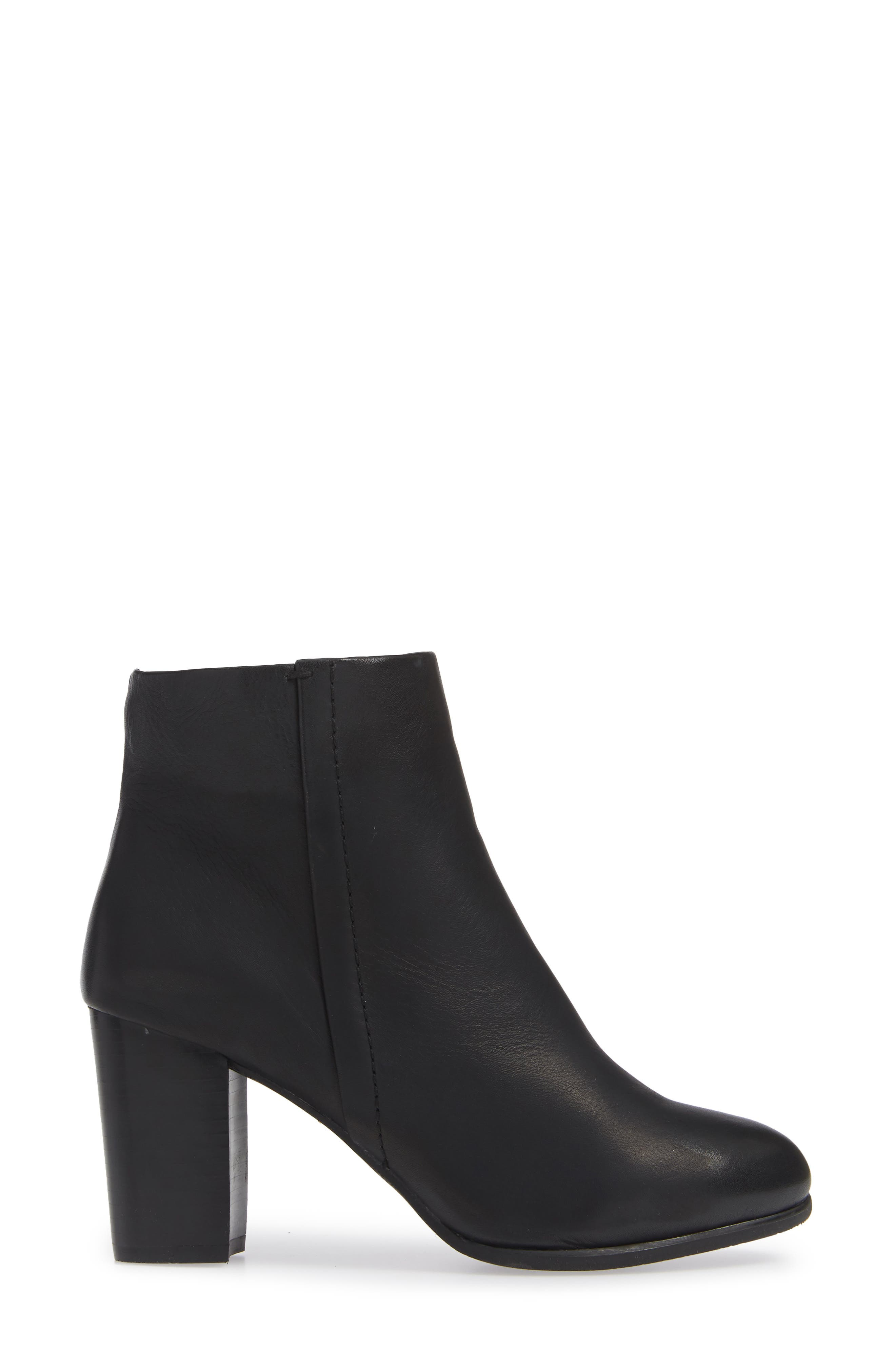 Kennedy Ankle Bootie,                             Alternate thumbnail 3, color,                             BLACK LEATHER