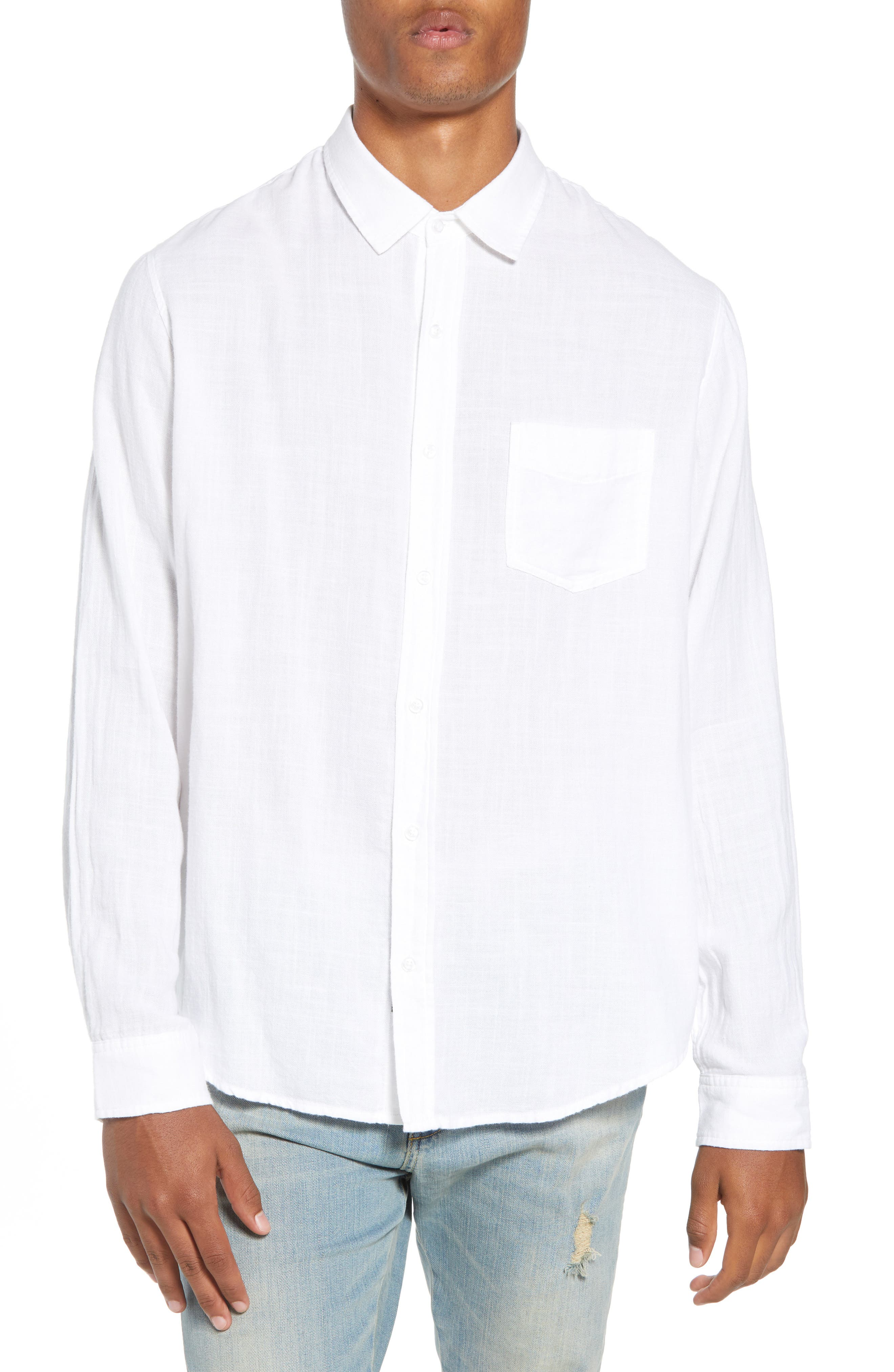 Wyatt Regular Fit Woven Shirt,                         Main,                         color, WHITE