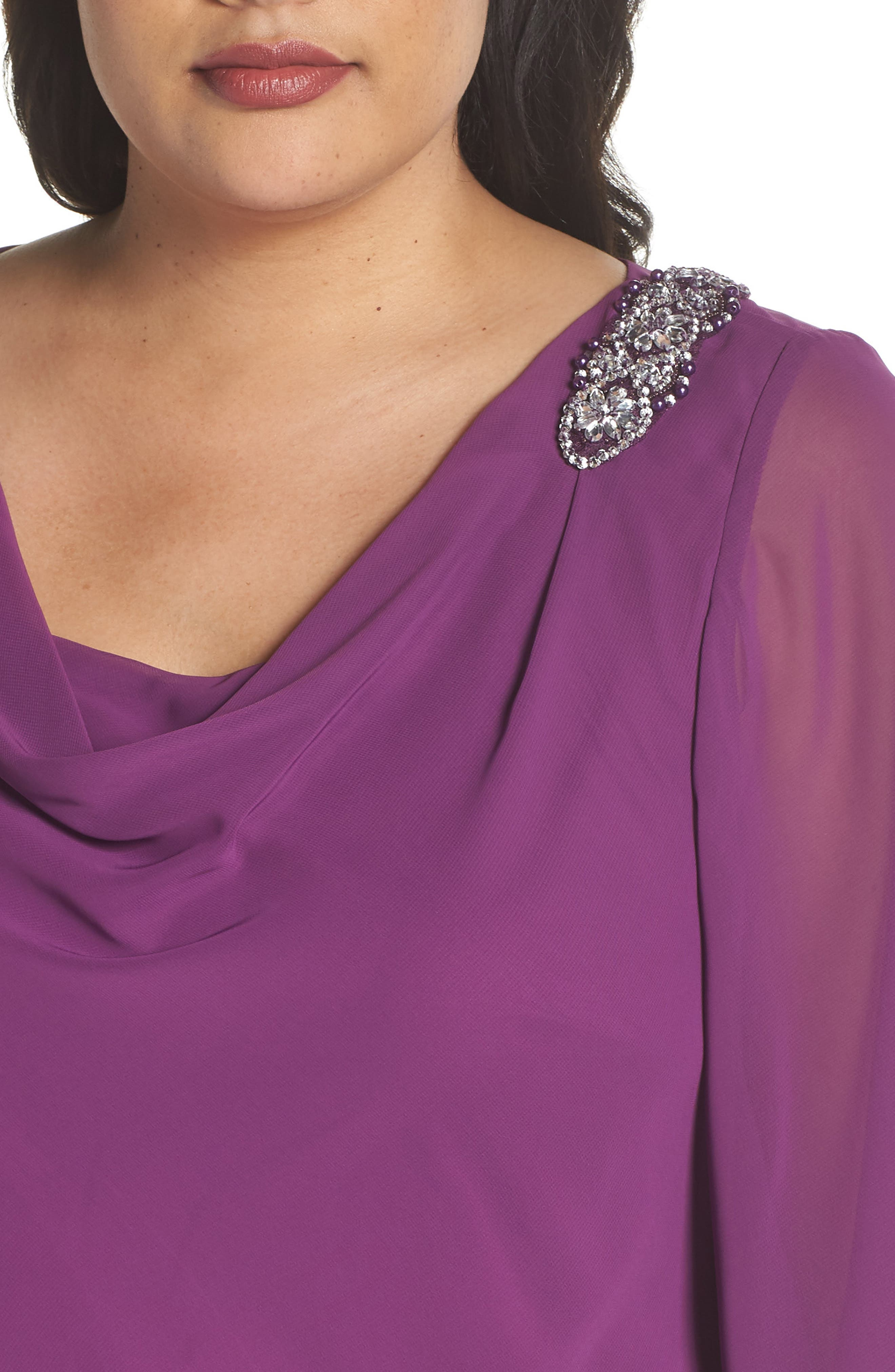 Embellished Tiered Chiffon Top,                             Alternate thumbnail 4, color,                             VINTAGE PLUM