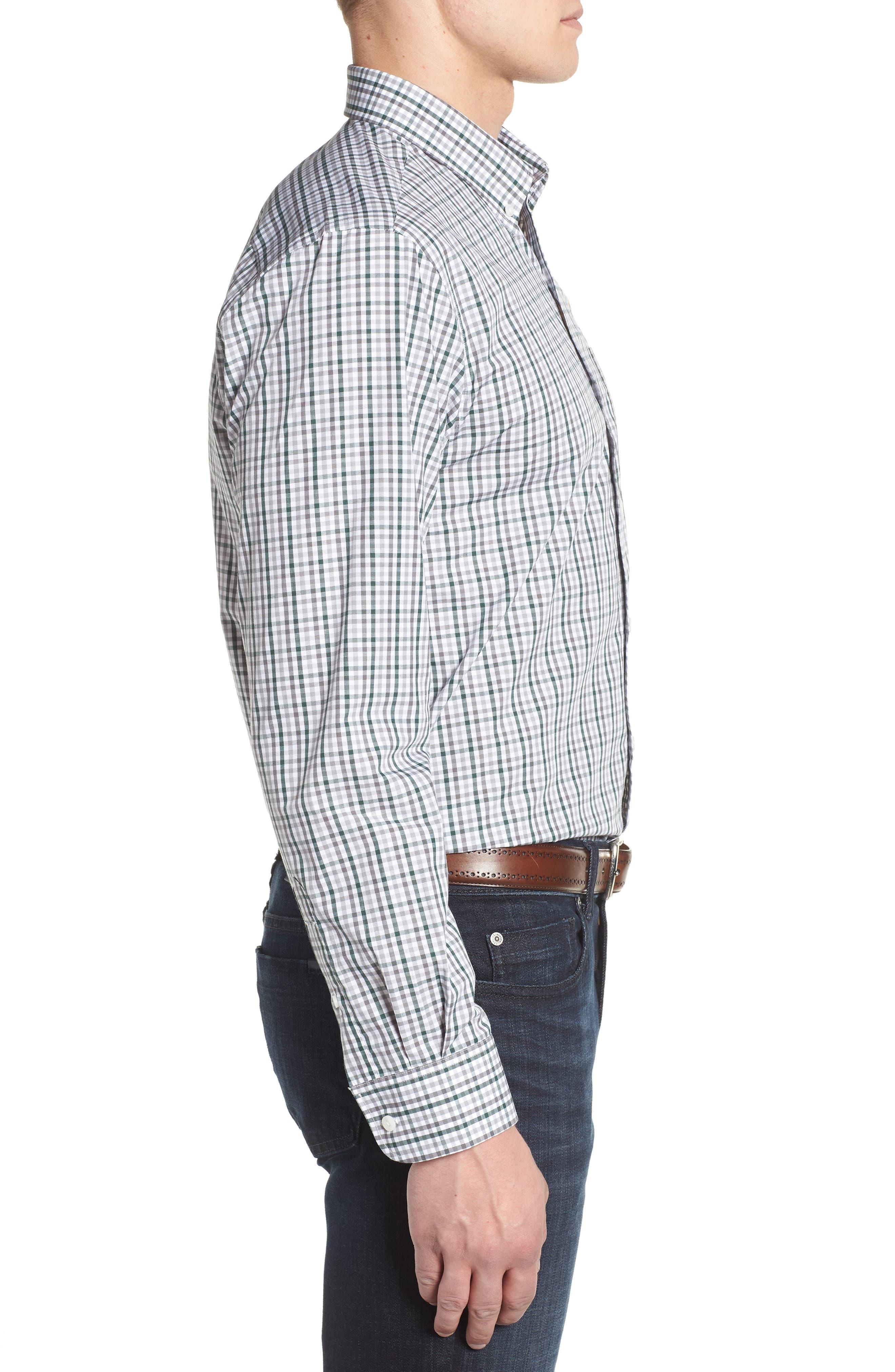 Green Bay Packers - Gilman Regular Fit Plaid Sport Shirt,                             Alternate thumbnail 3, color,                             HUNTER