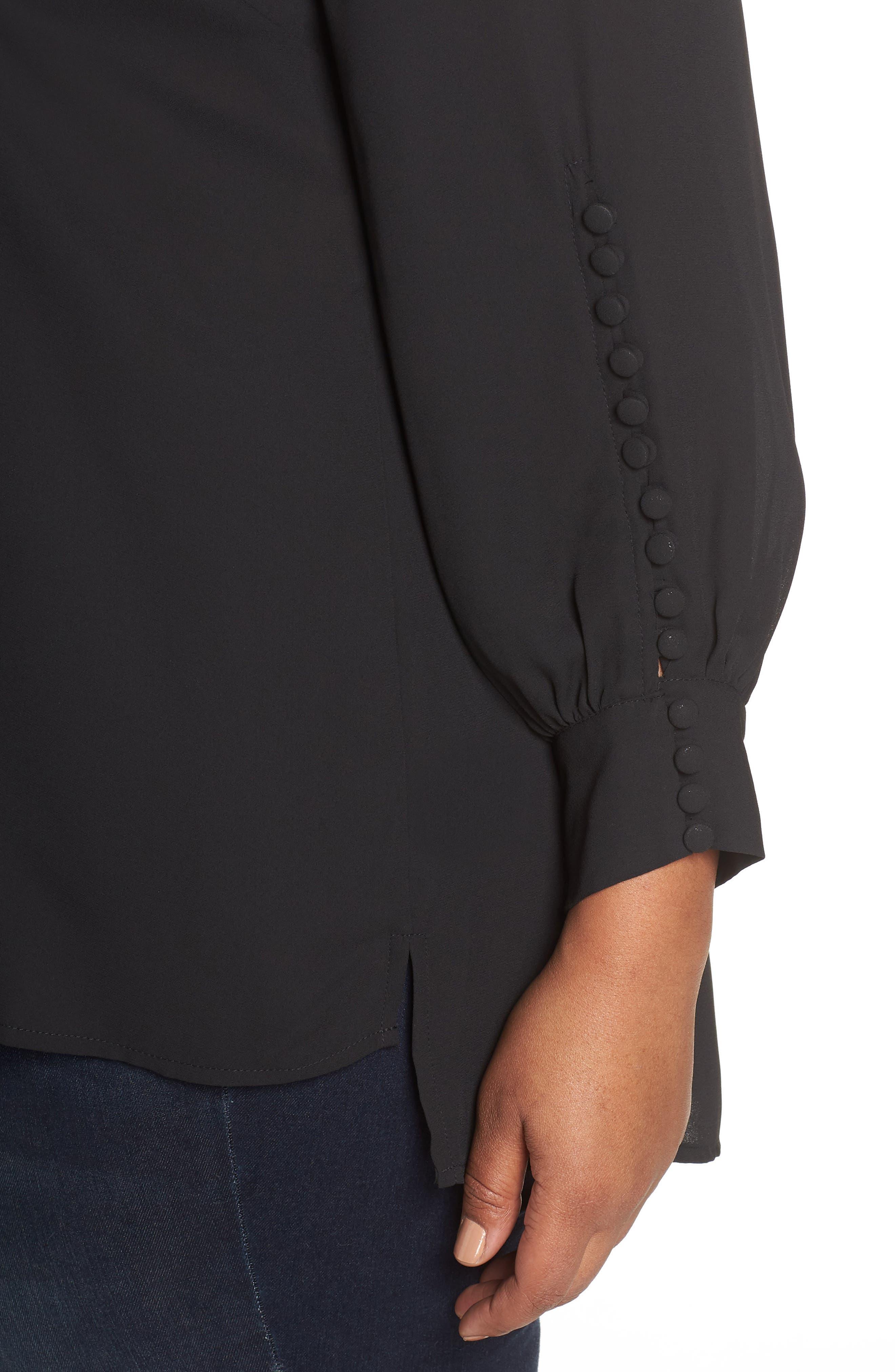 Button Sleeve Blouse,                             Alternate thumbnail 4, color,                             001