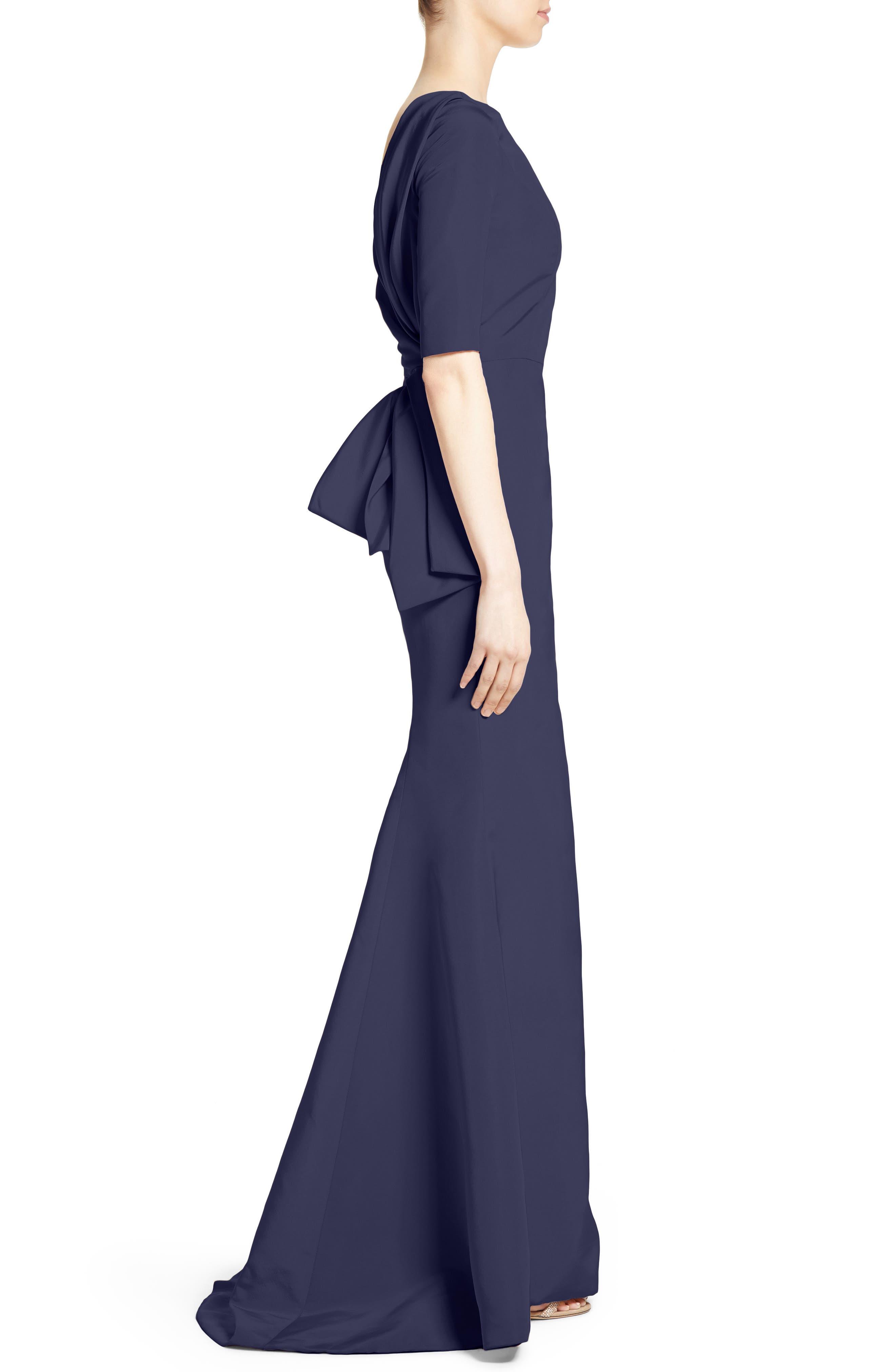 Draped V-Back Gown,                             Alternate thumbnail 3, color,                             410