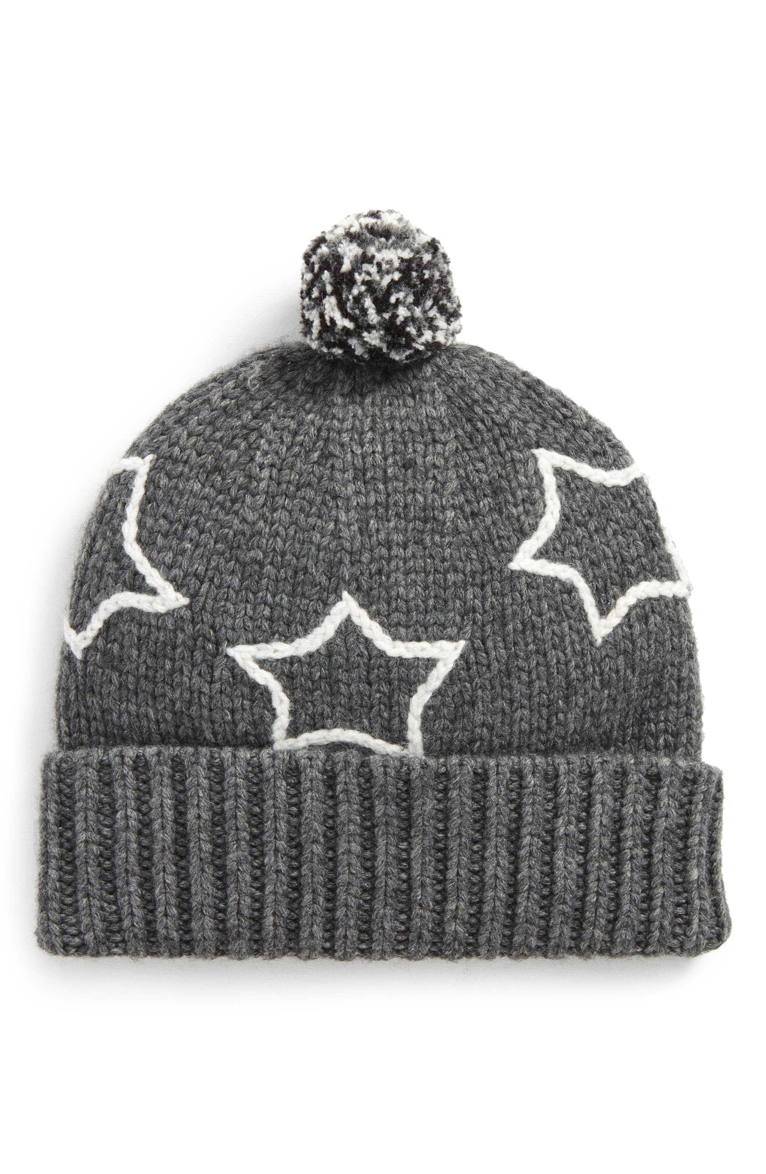 Starry Pompom Beanie,                             Main thumbnail 1, color,                             020