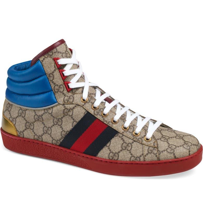 Gucci New Ace High GG Supreme Sneaker (Men)  10a08ed3fa8