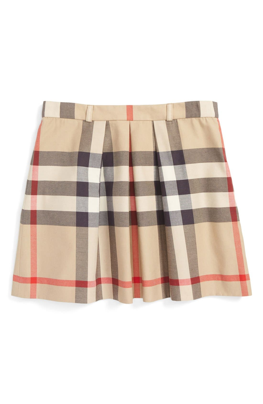 BURBERRY,                             Pleated Check Skirt,                             Main thumbnail 1, color,                             272