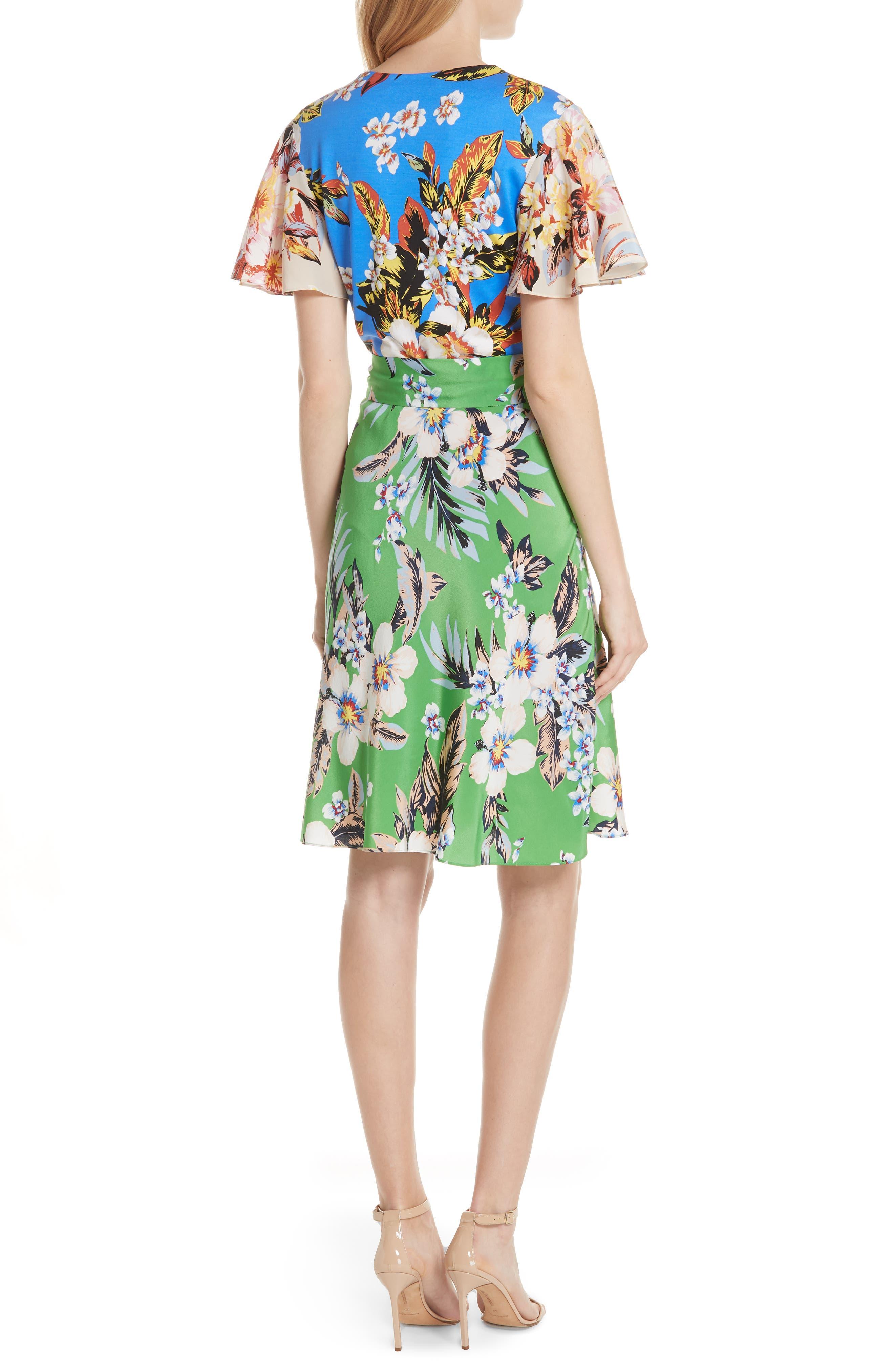 Diane von Furstenberg Flutter Sleeve Silk Wrap Dress,                             Alternate thumbnail 5, color,
