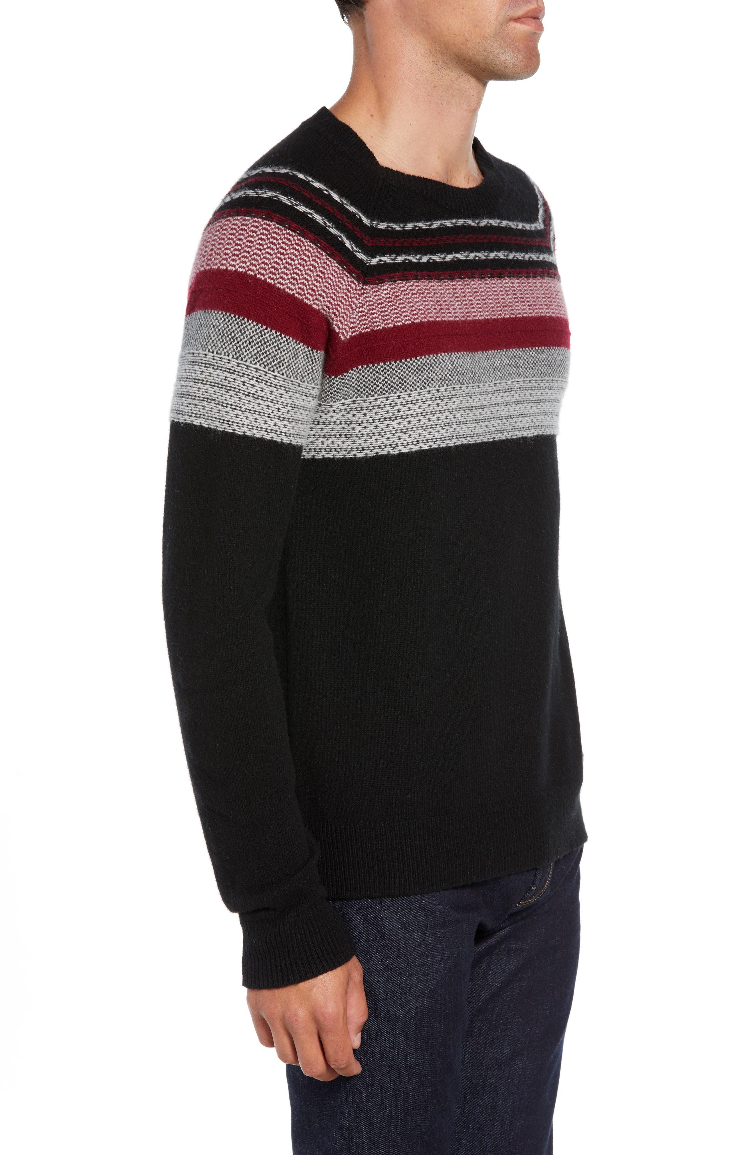 Fair Isle Sweater,                             Alternate thumbnail 3, color,                             BLACK/ RED COMBO